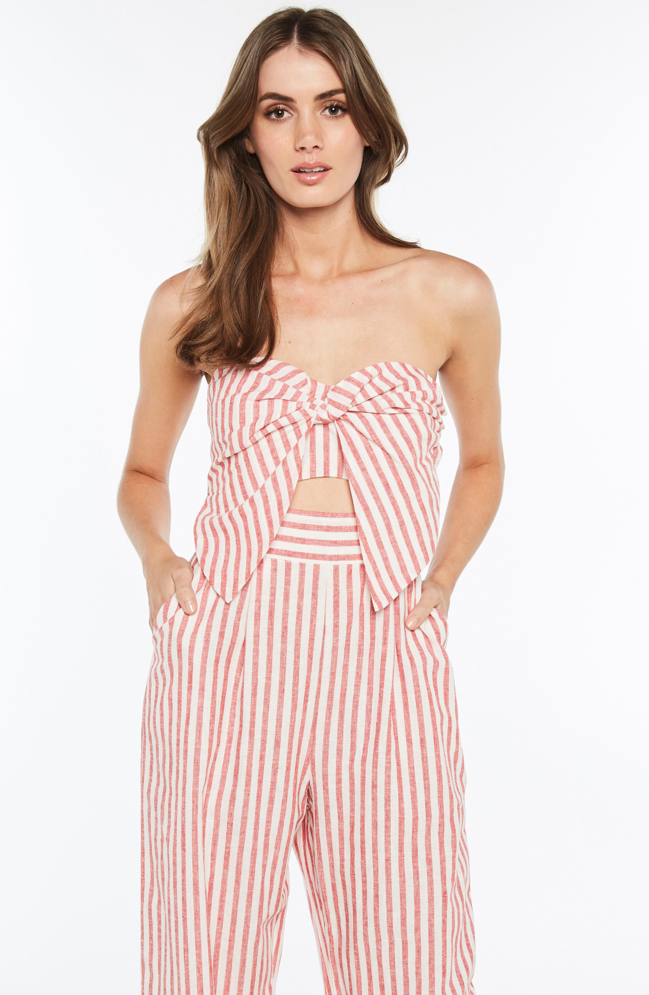 Stripe Strapless Jumpsuit,                             Alternate thumbnail 4, color,                             Red Stripe