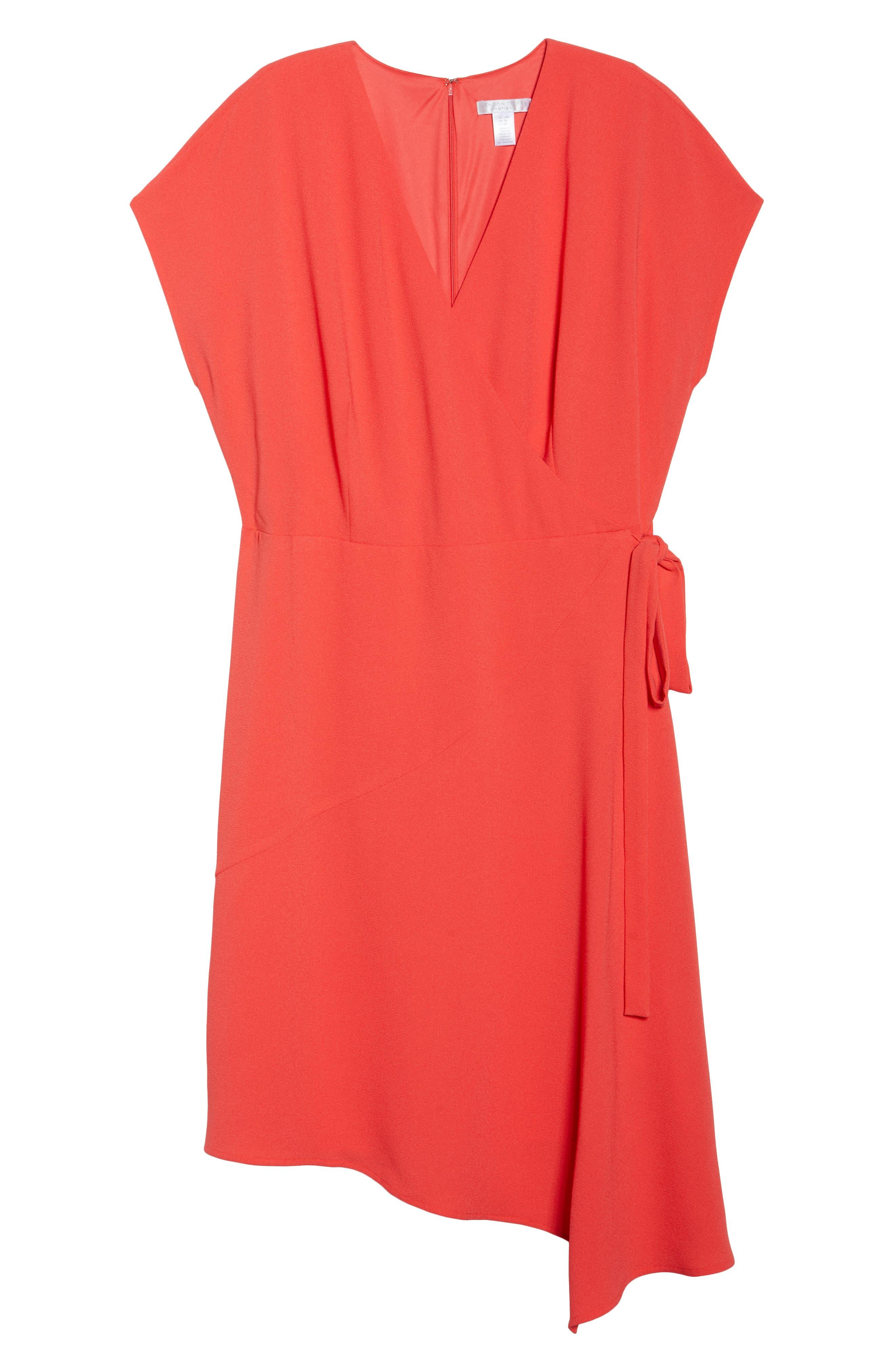 Crepe Surplice Dress,                             Alternate thumbnail 6, color,                             Coral