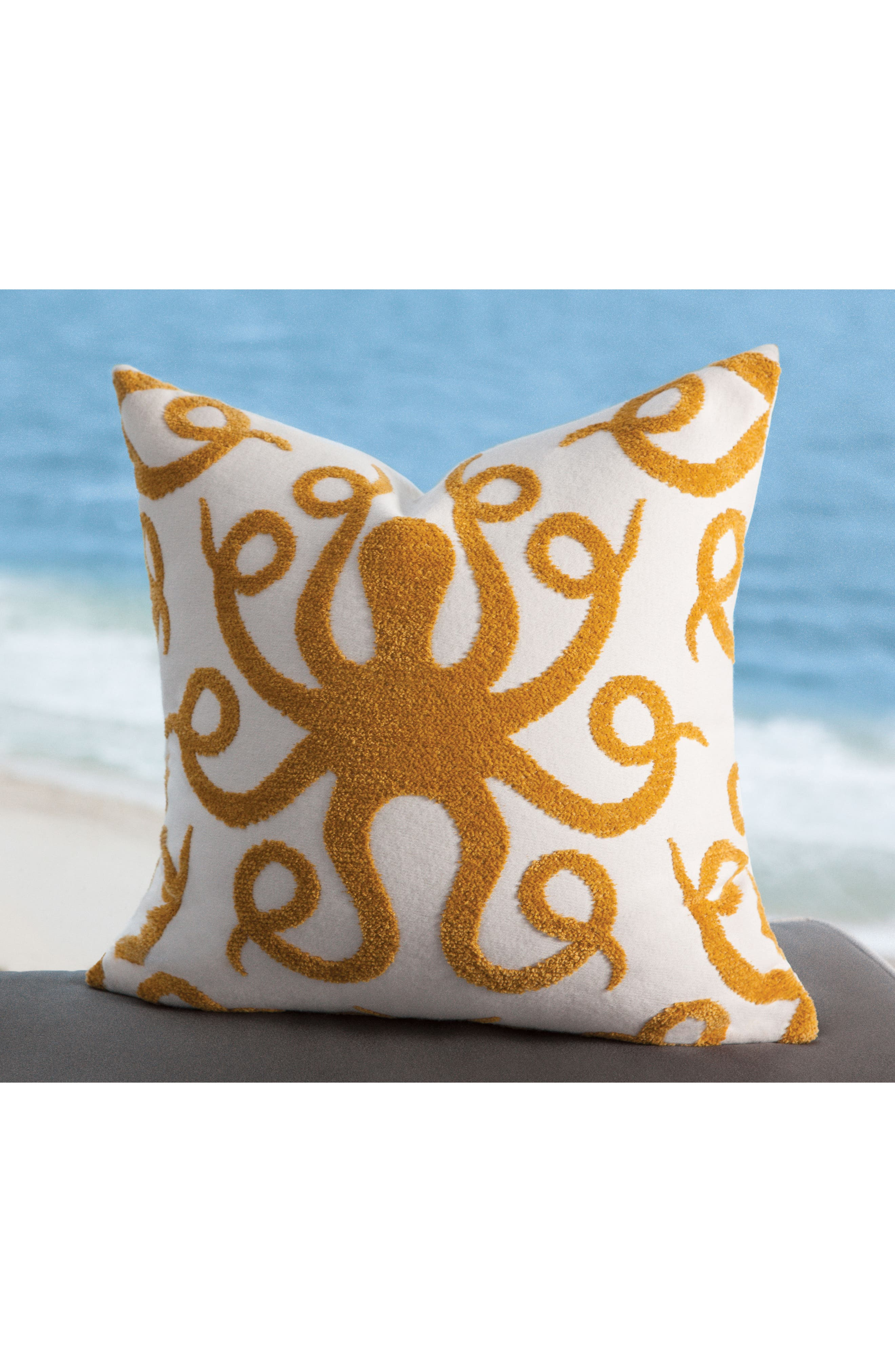 Octoplush Indoor/Outdoor Accent Pillow,                             Alternate thumbnail 2, color,                             Gold/ White