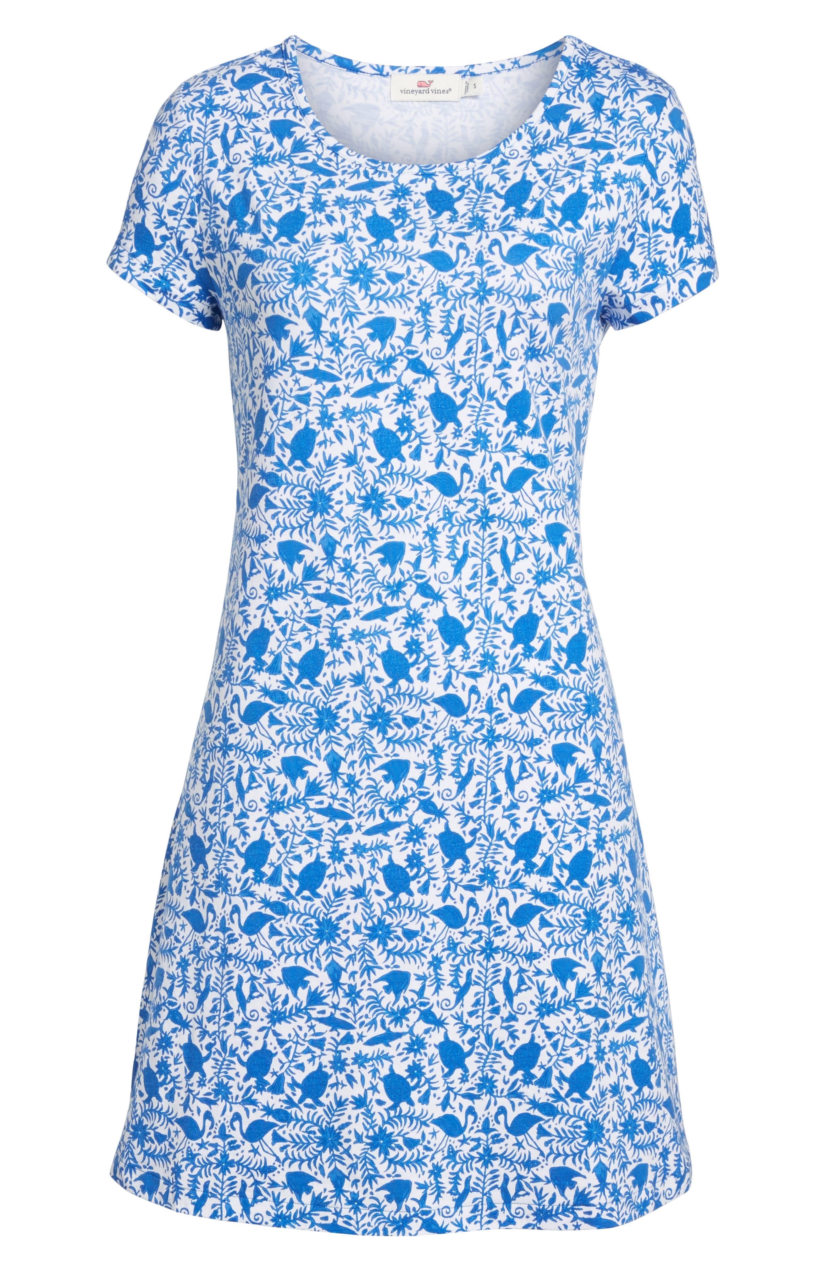 Bahamas Otomi Print Stretch Cotton Dress,                             Alternate thumbnail 6, color,                             Yacht Blue