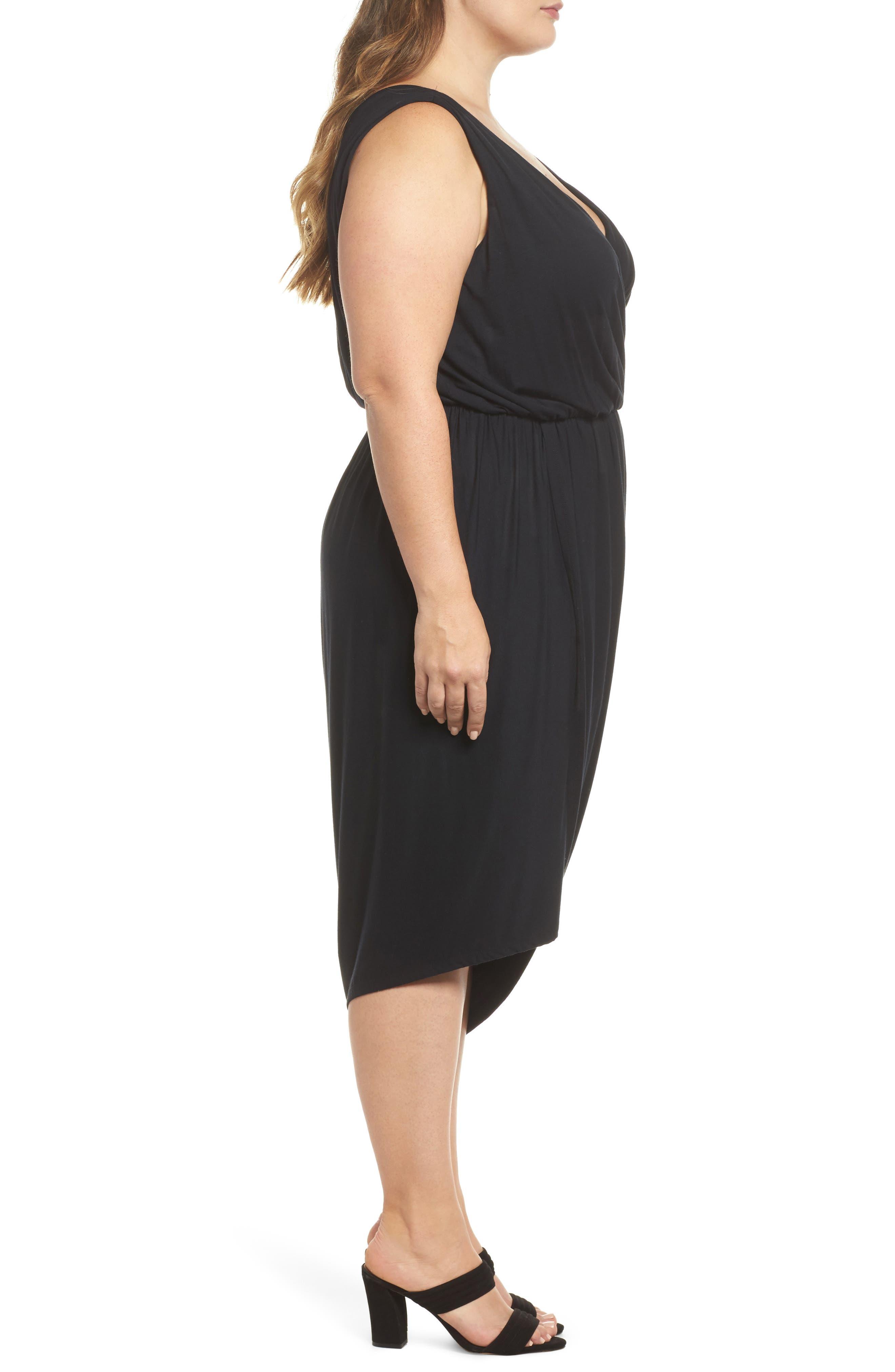 Drape Surplice Jersey Midi Dress,                             Alternate thumbnail 3, color,                             Black