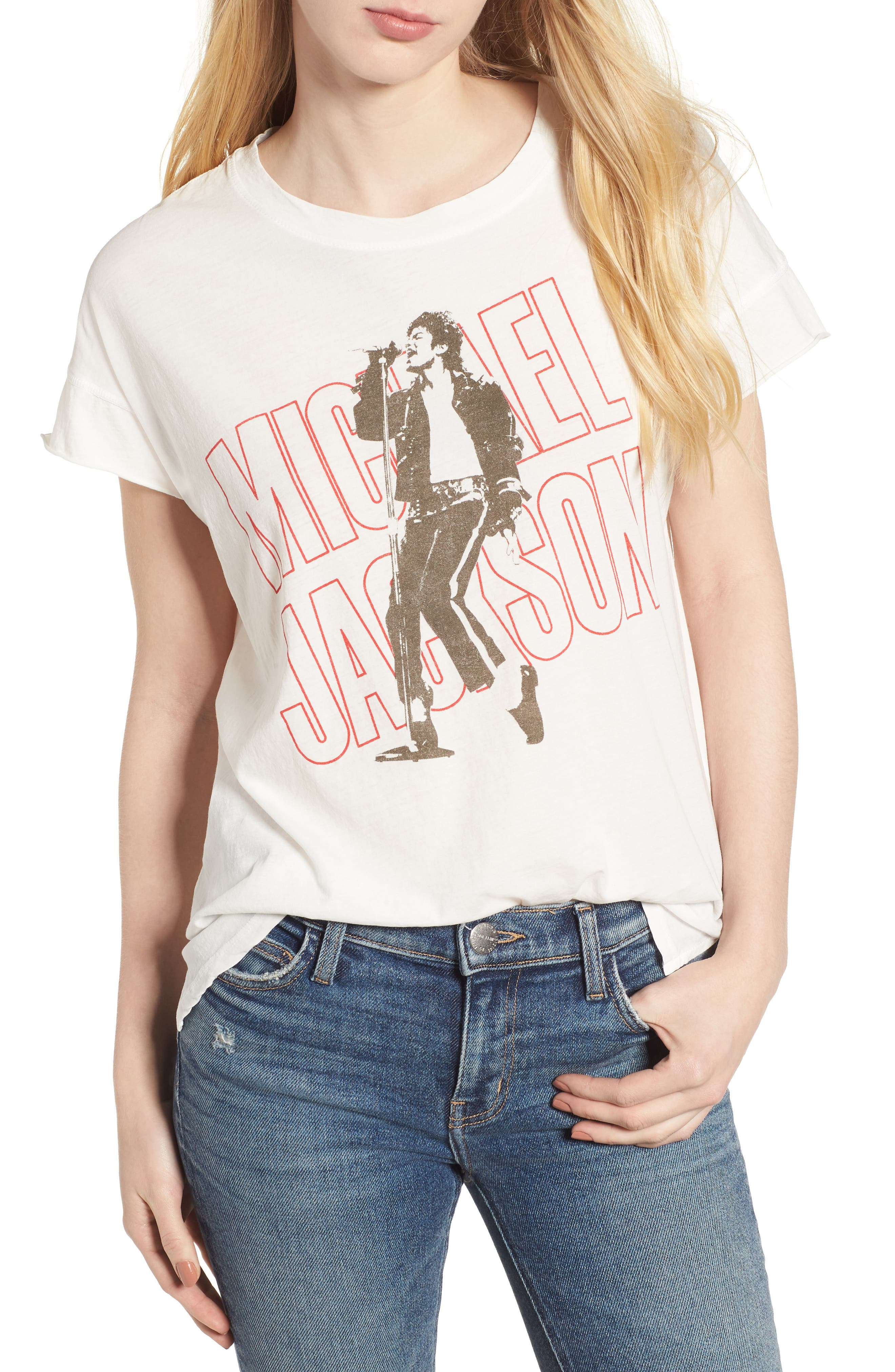 Michael Jackson Tee,                             Main thumbnail 1, color,                             Vintage White