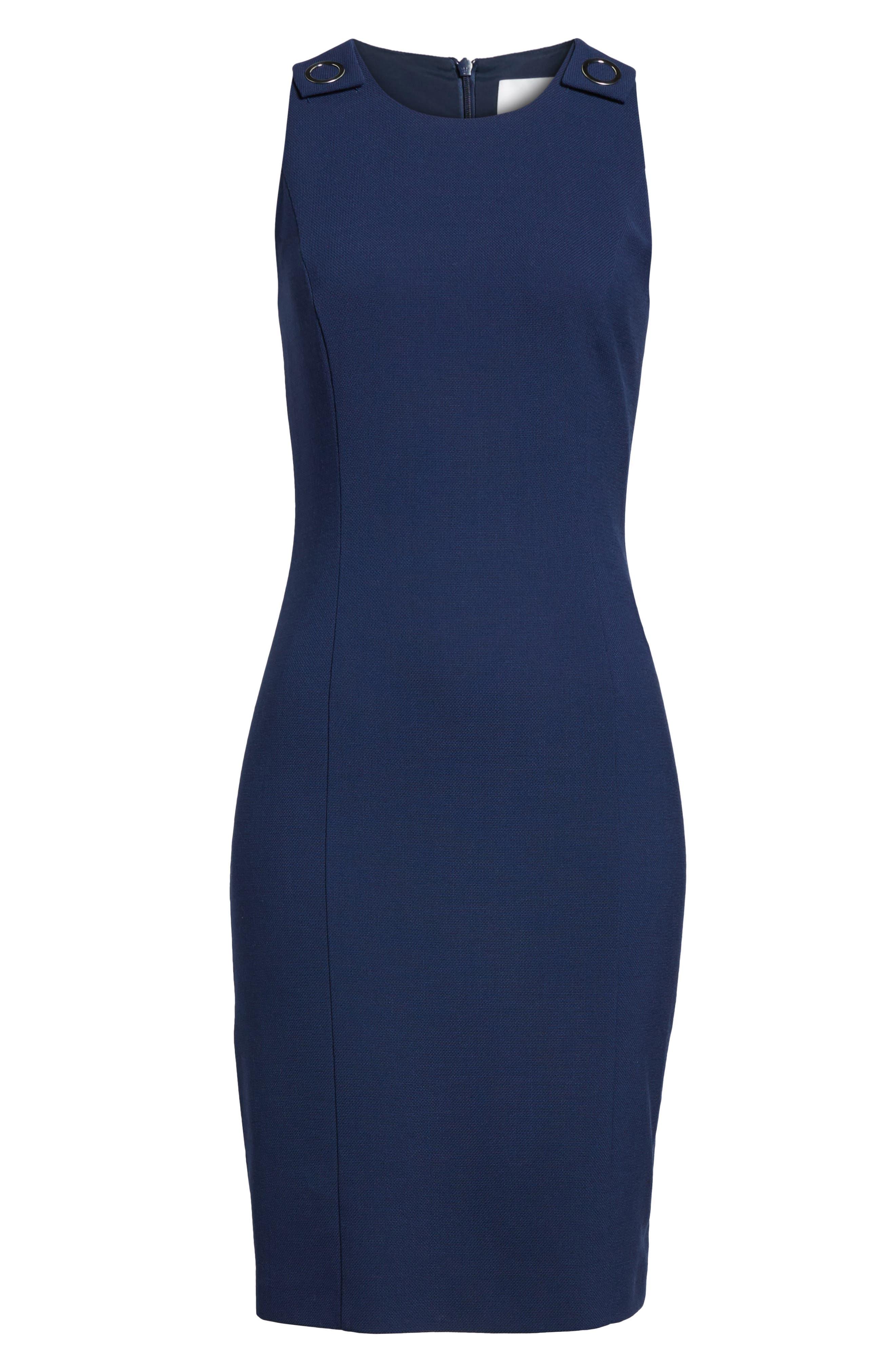 Dibalena Texture Stretch Dress,                             Alternate thumbnail 6, color,                             Nautical