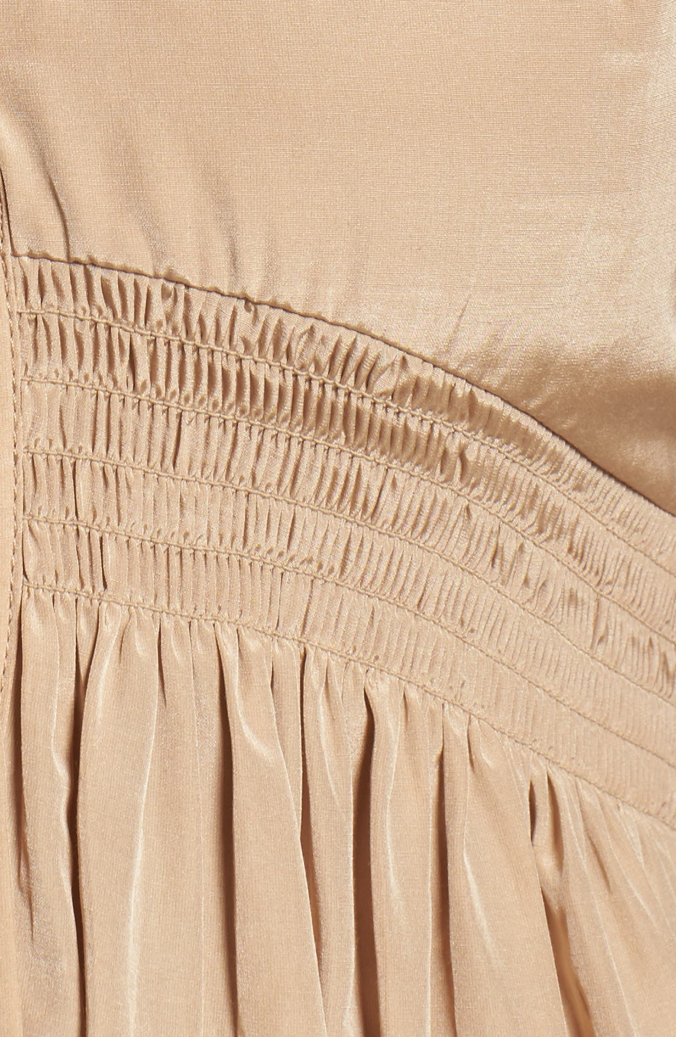 Aria Cotton & Silk Midi Dress,                             Alternate thumbnail 5, color,                             Beige