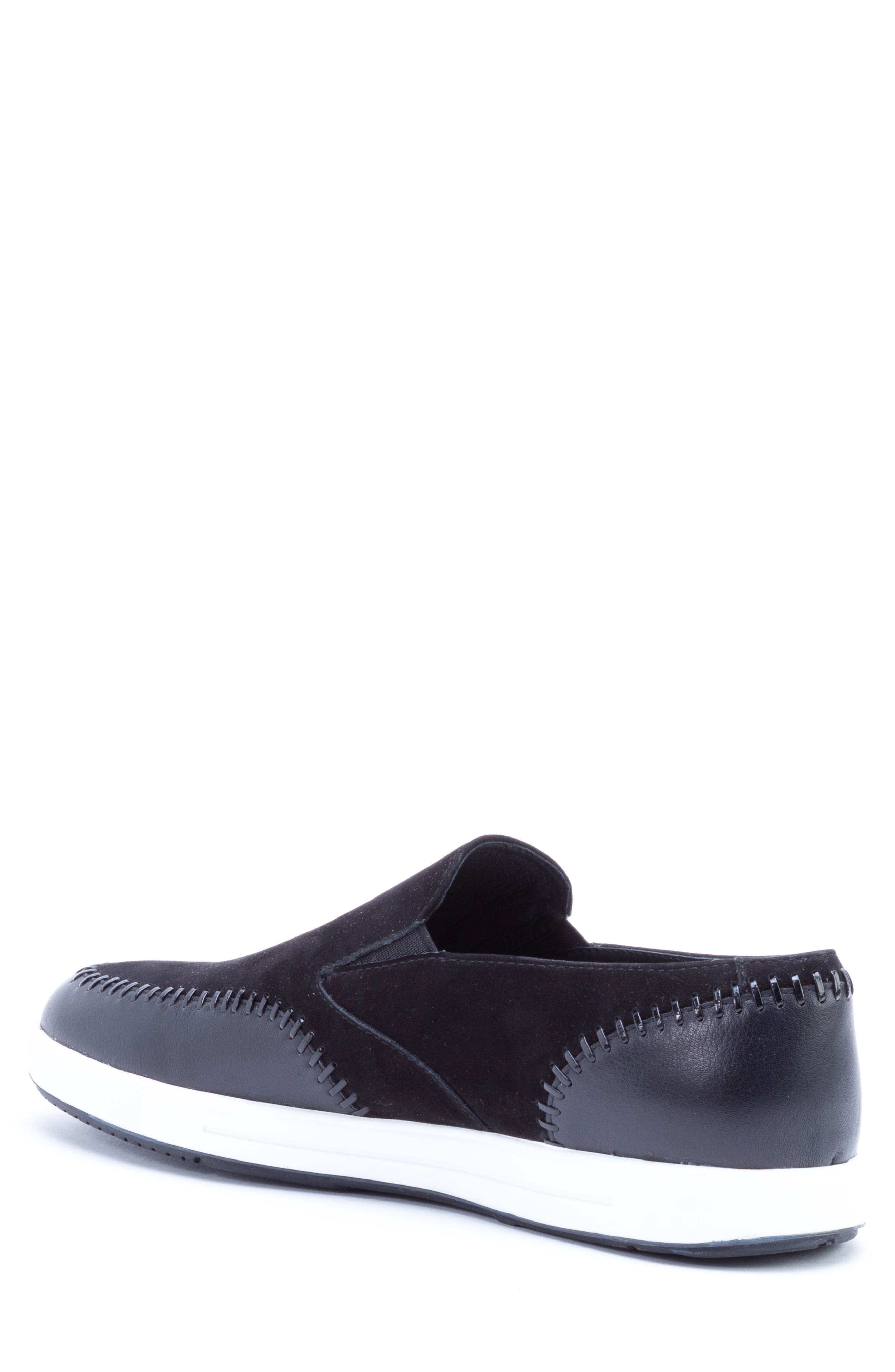Caravaggio Whipstitched Slip-On Sneaker,                             Alternate thumbnail 2, color,                             Black Suede/ Leather