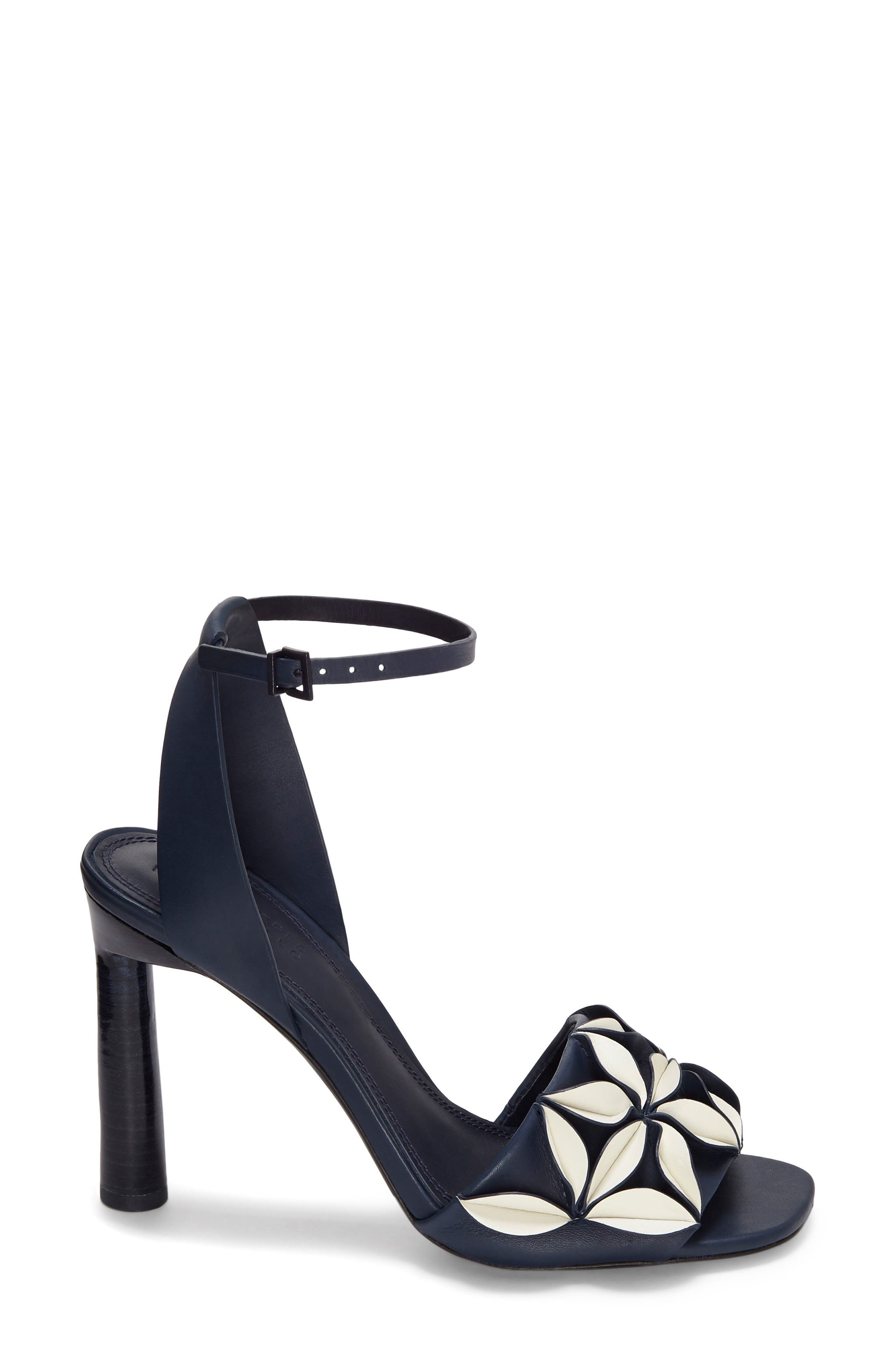 Milee Ankle Strap Sandal,                         Main,                         color, Bright Blue/ White