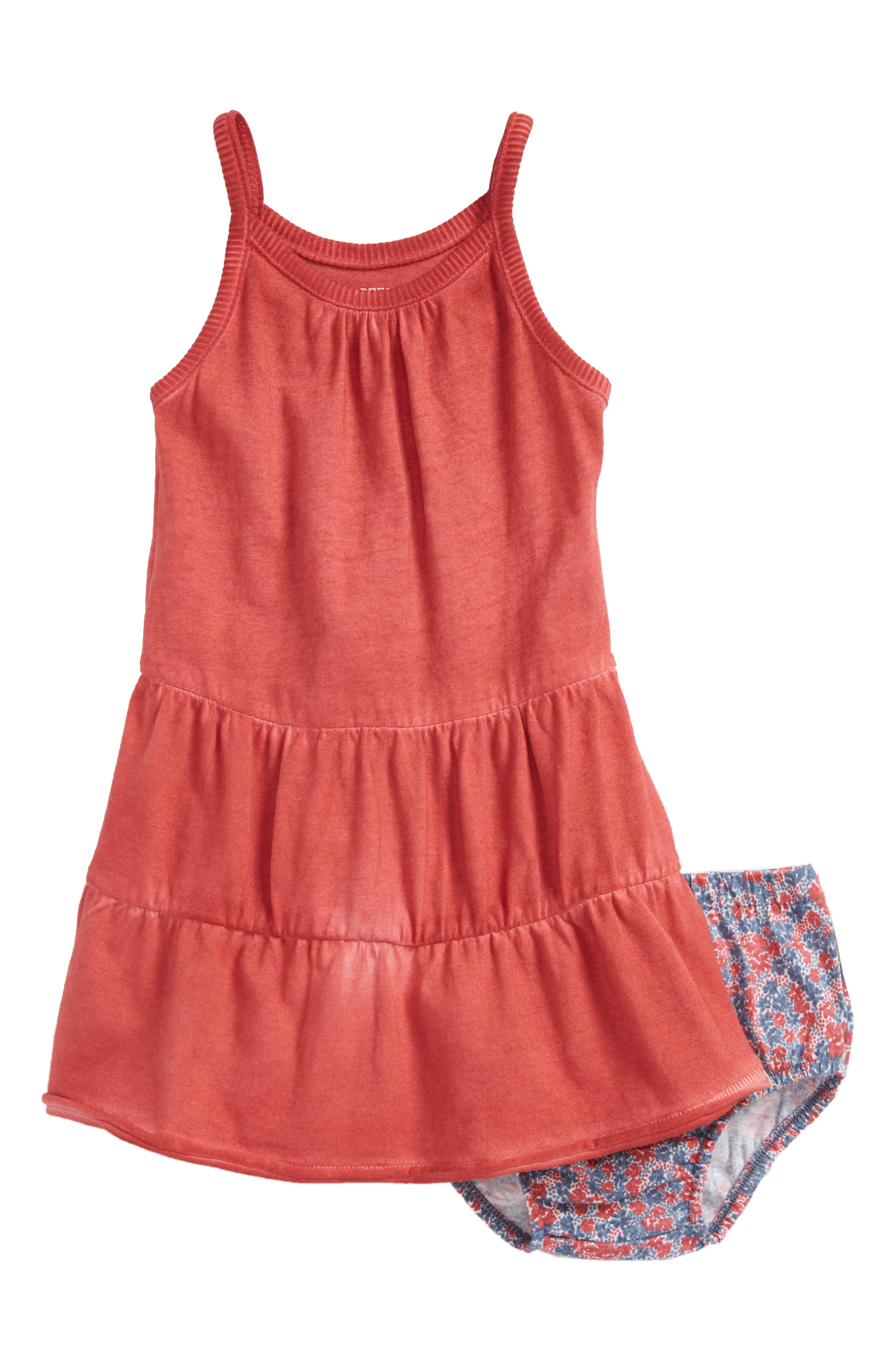 Organic Cotton Tiered Dress,                         Main,                         color, Red Barn