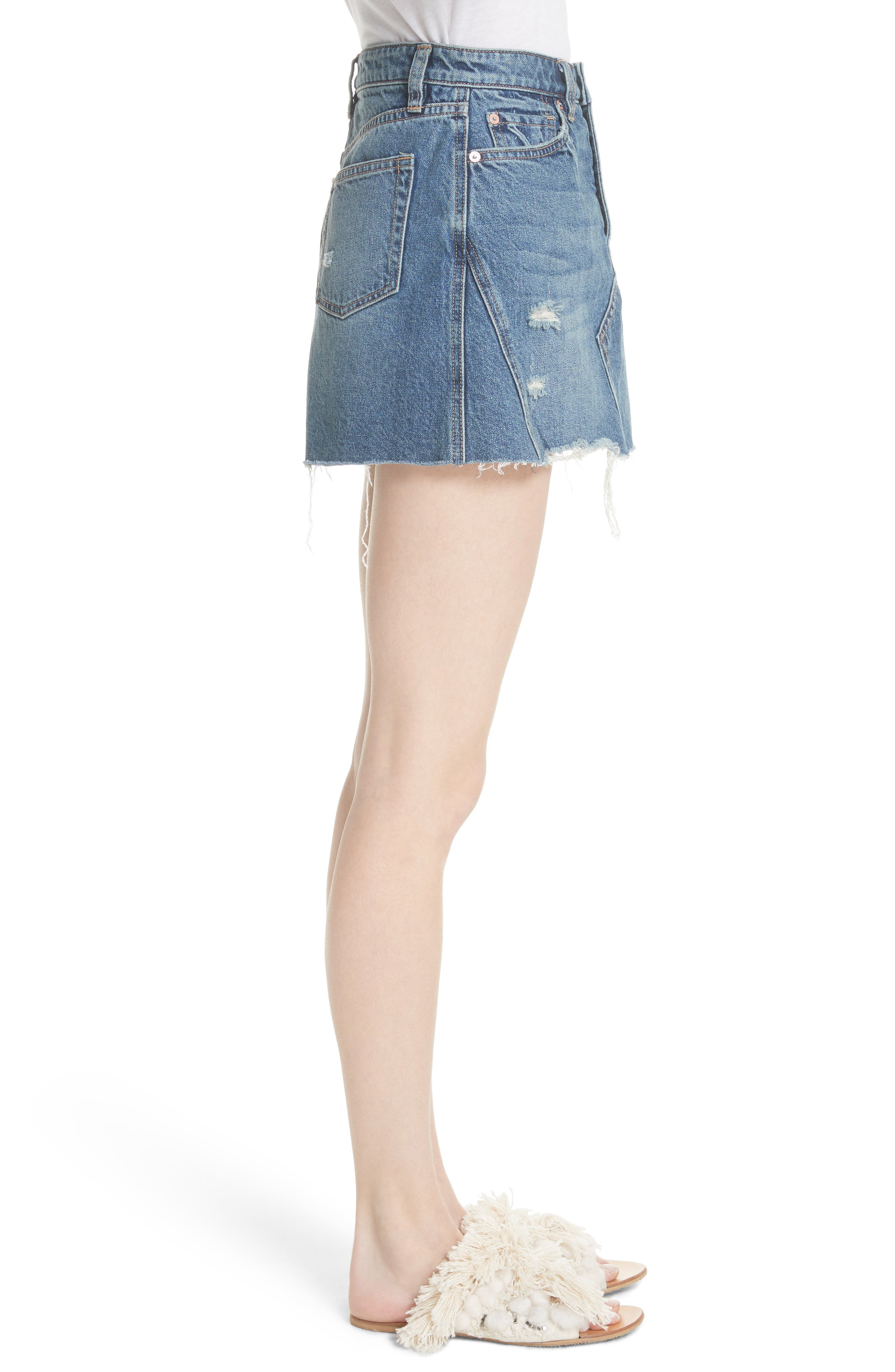 A-Line Denim Skirt,                             Alternate thumbnail 3, color,                             Blue