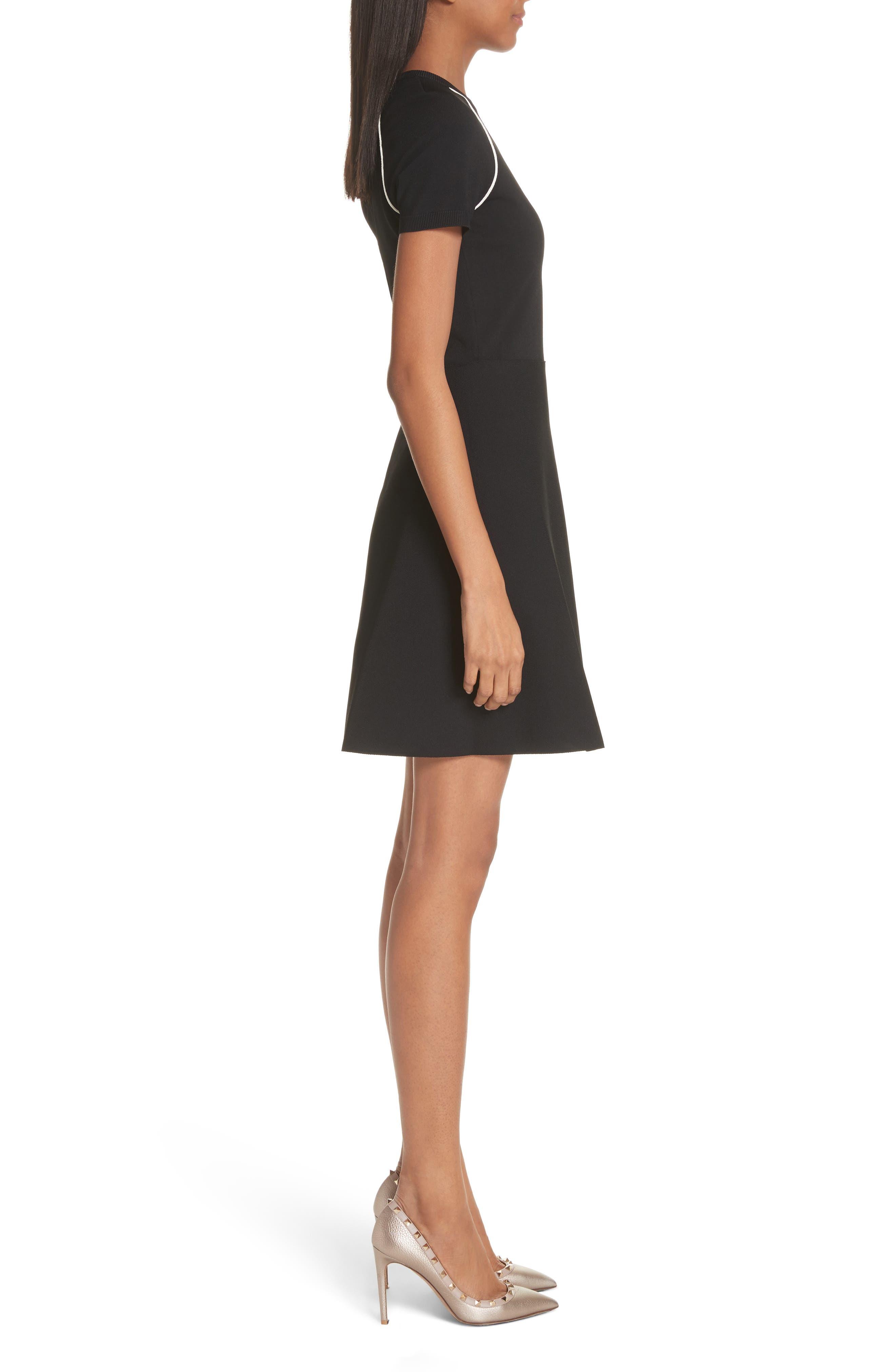 Lipstick Embellished A-Line Dress,                             Alternate thumbnail 3, color,                             Black