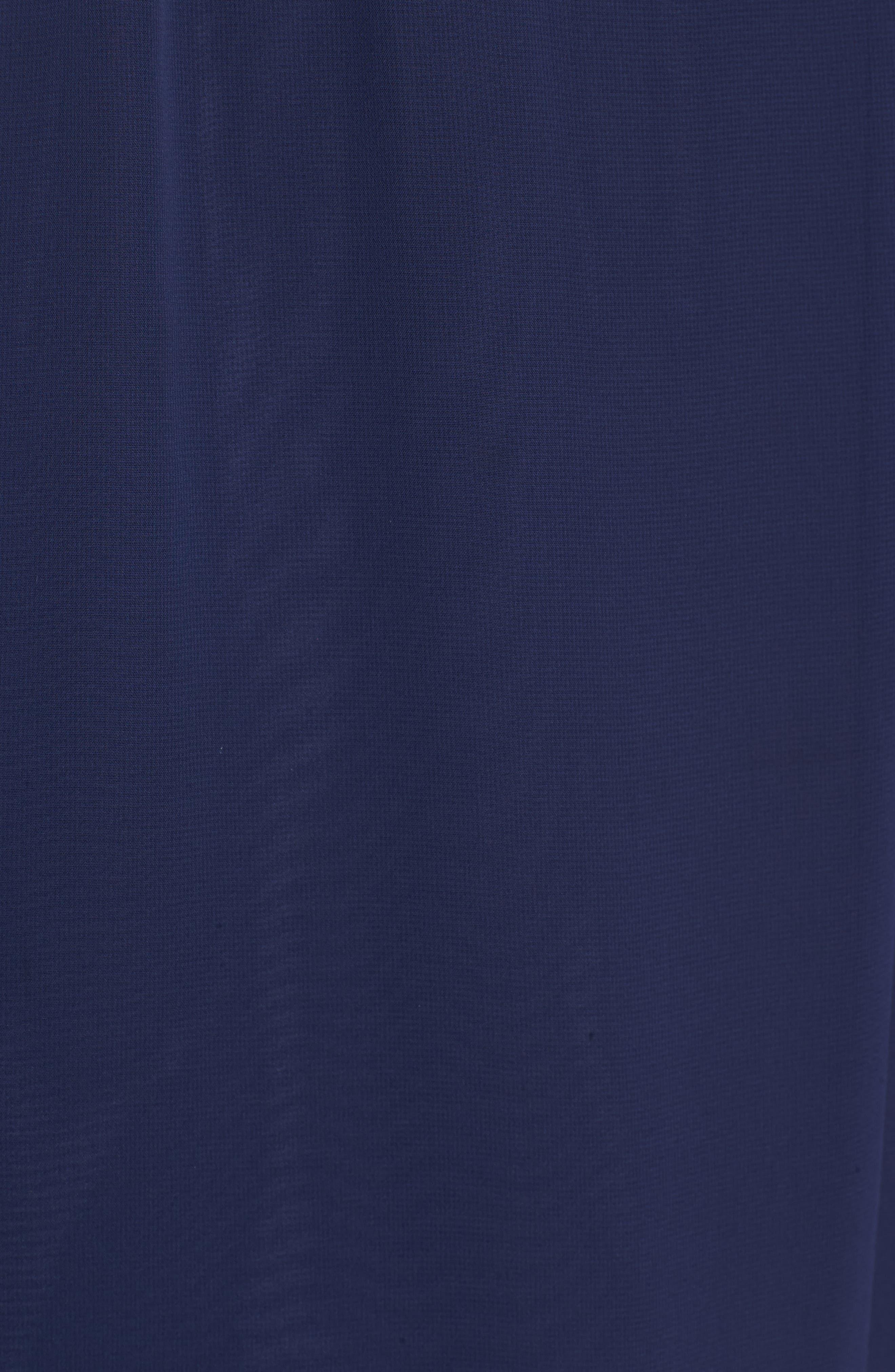 Sheer Overlay Tie Dress,                             Alternate thumbnail 5, color,                             Breton Blue