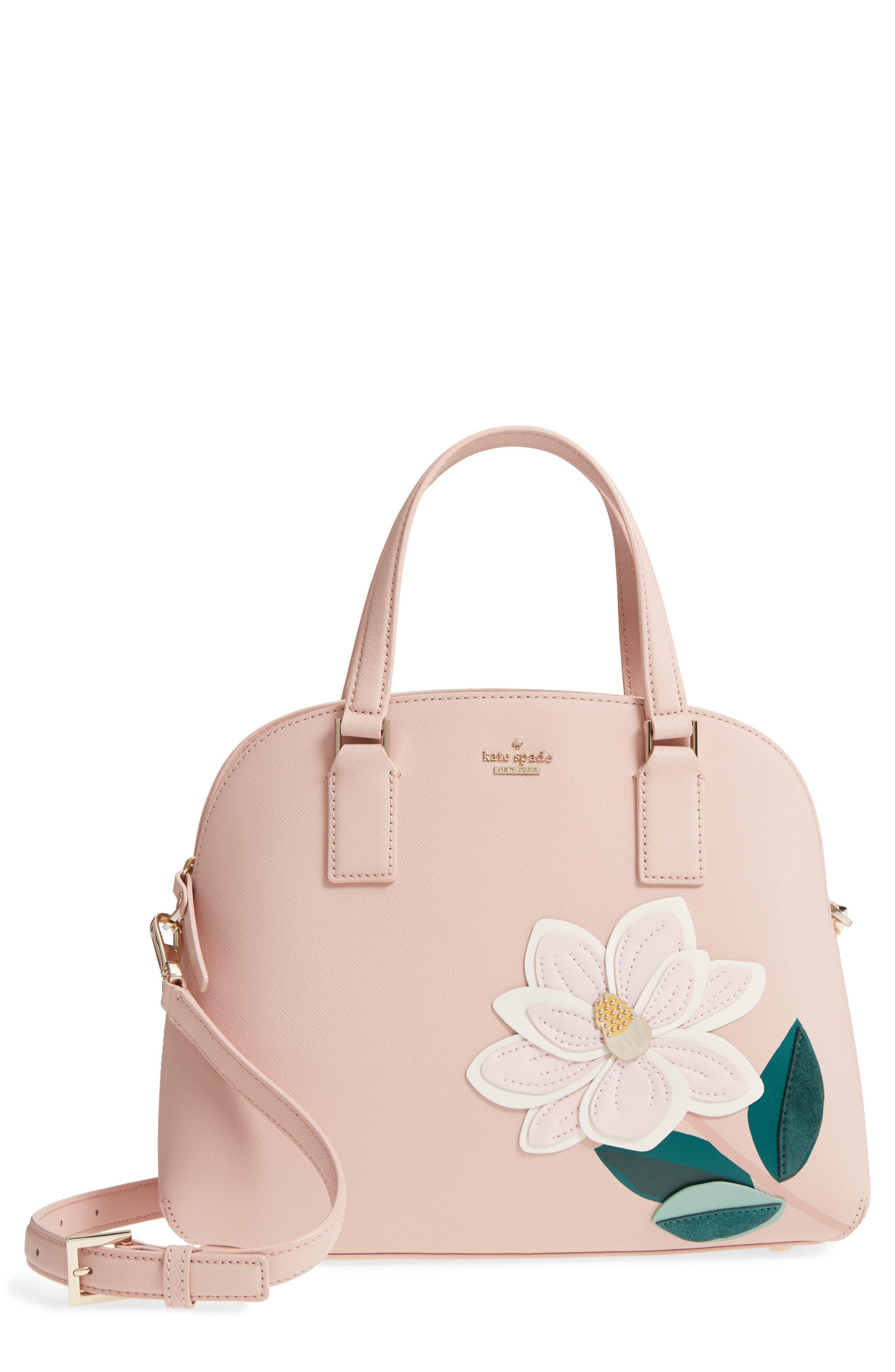swamped magnolia - lottie leather satchel,                         Main,                         color, Multi