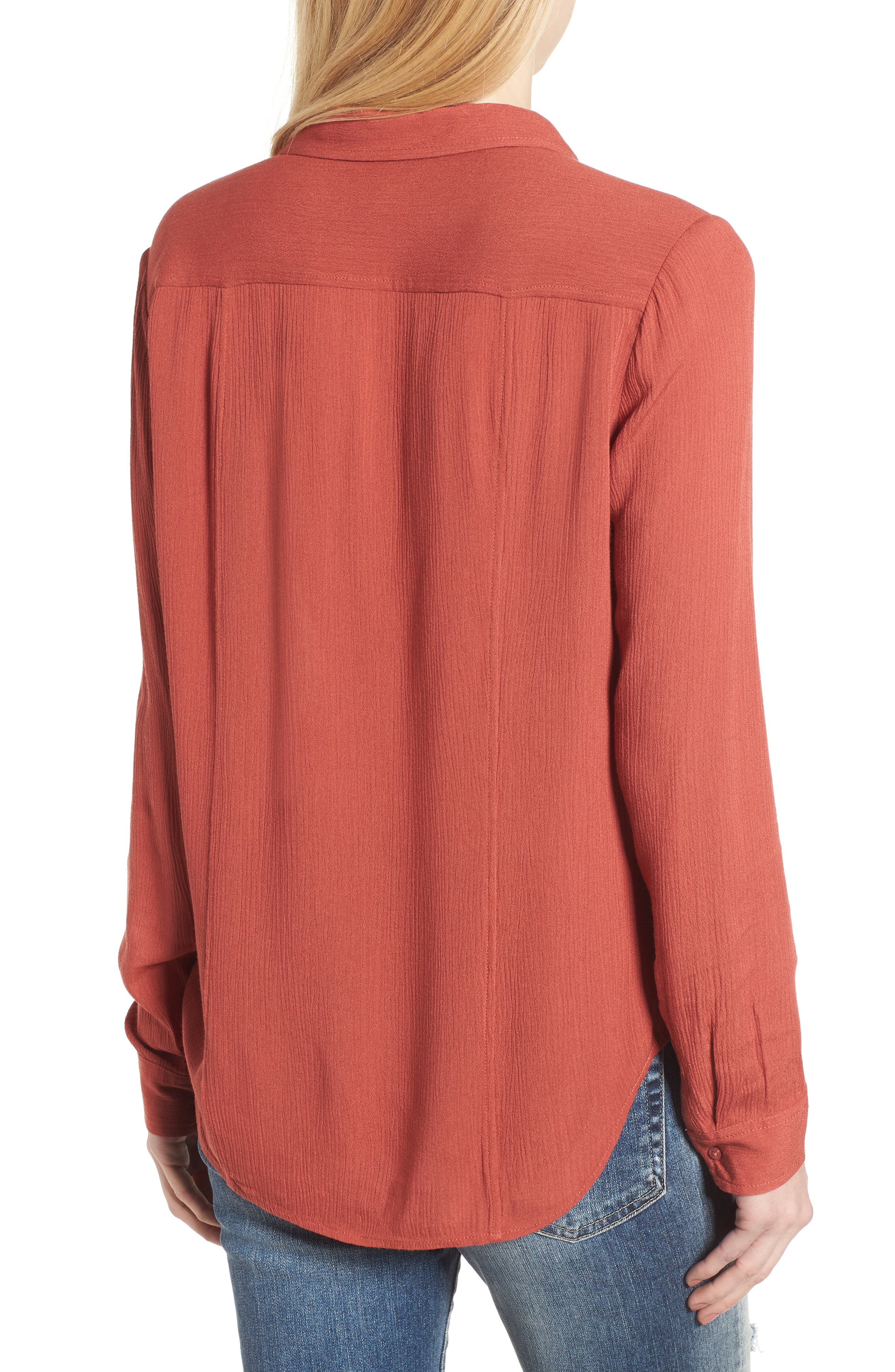 Nevada Cotton Henley Shirt,                             Alternate thumbnail 2, color,                             Firebrick