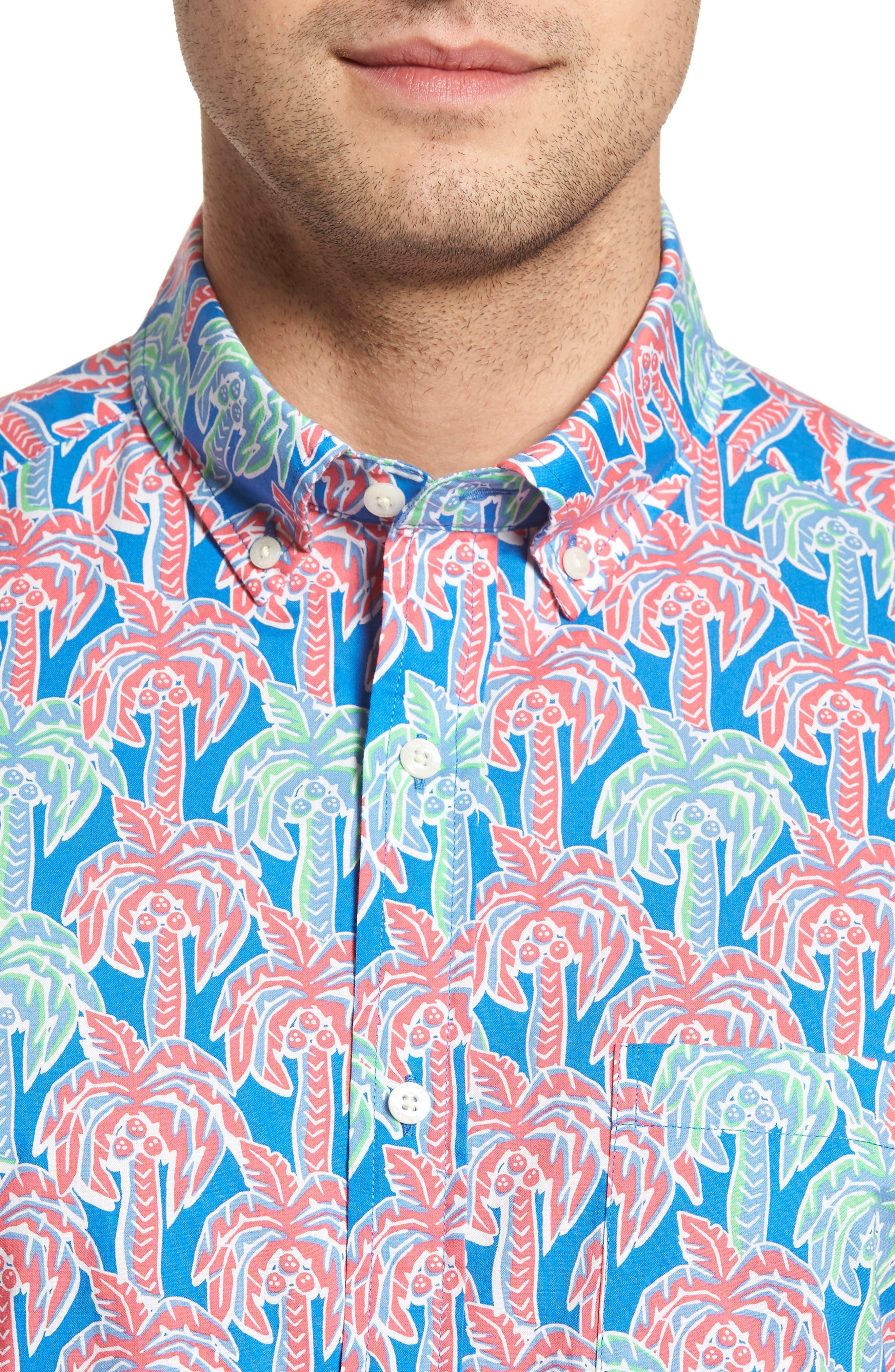 Murray Classic Fit Print Short Sleeve Sport Shirt,                             Alternate thumbnail 4, color,                             Hull Blue