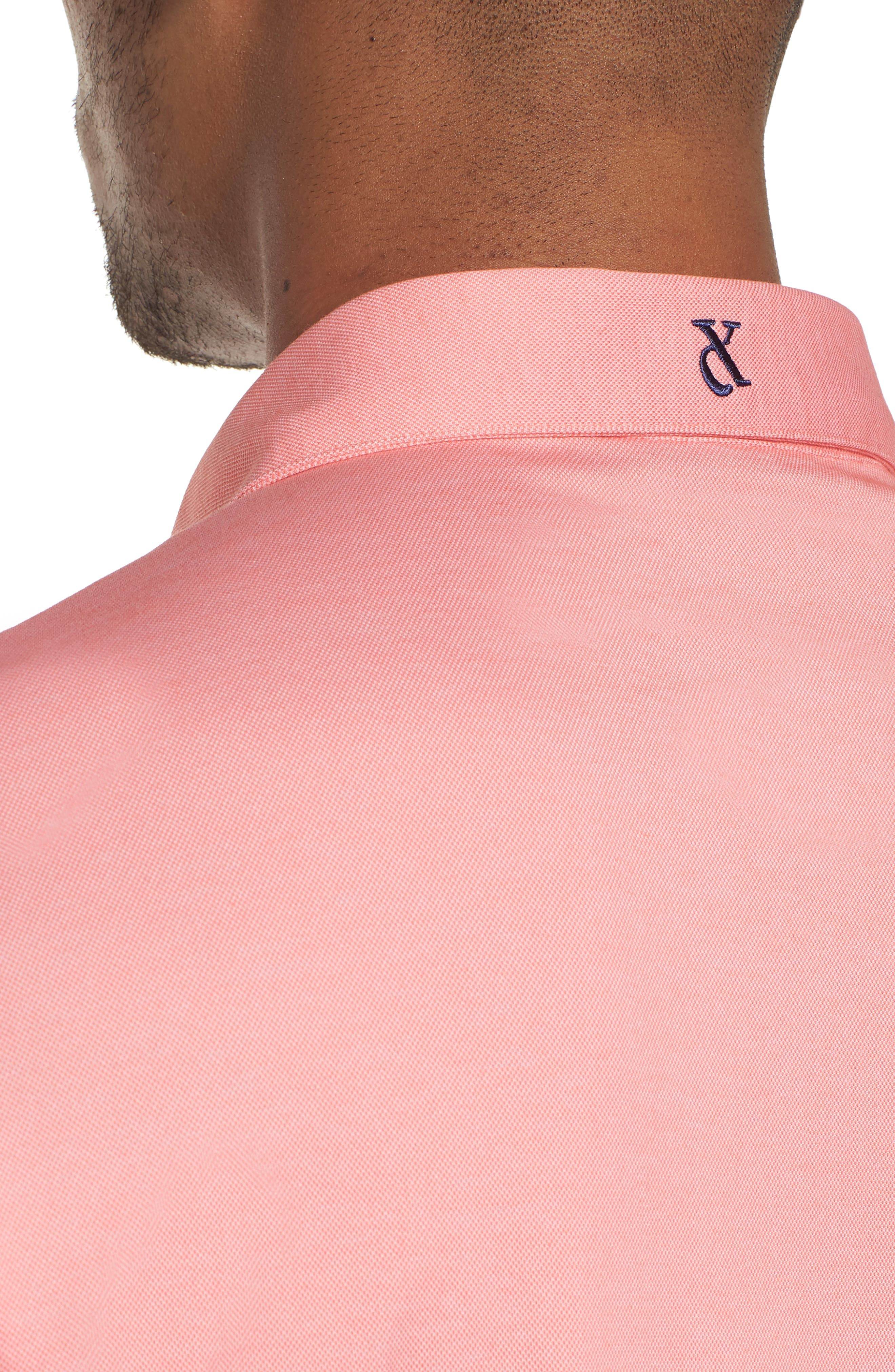 Andrew Regular Fit Piqué Polo,                             Alternate thumbnail 4, color,                             Coral