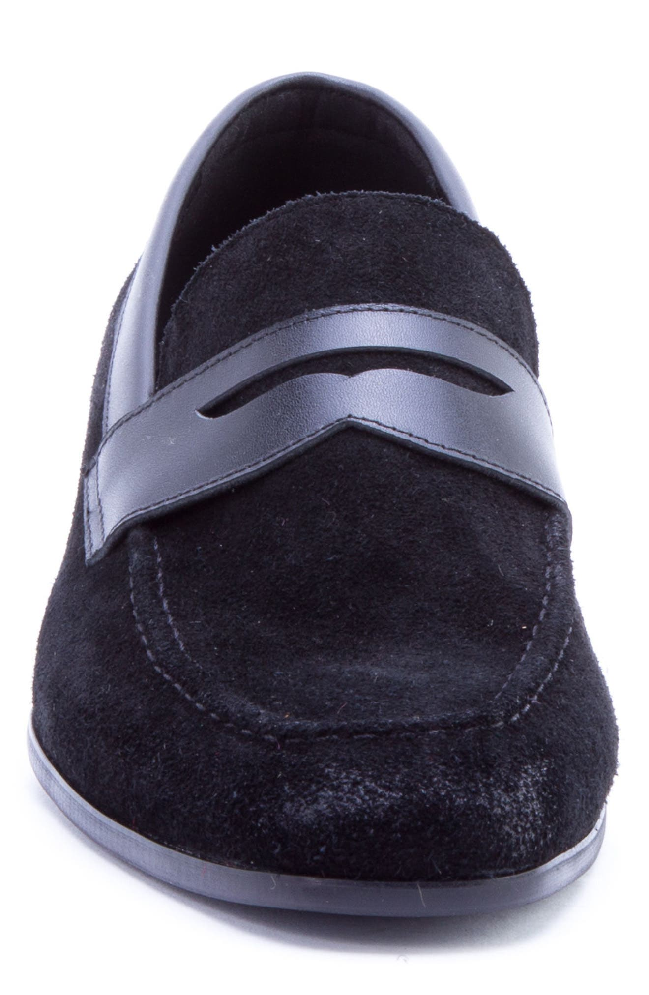 Siena Penny Loafer,                             Alternate thumbnail 4, color,                             Black Suede/ Leather