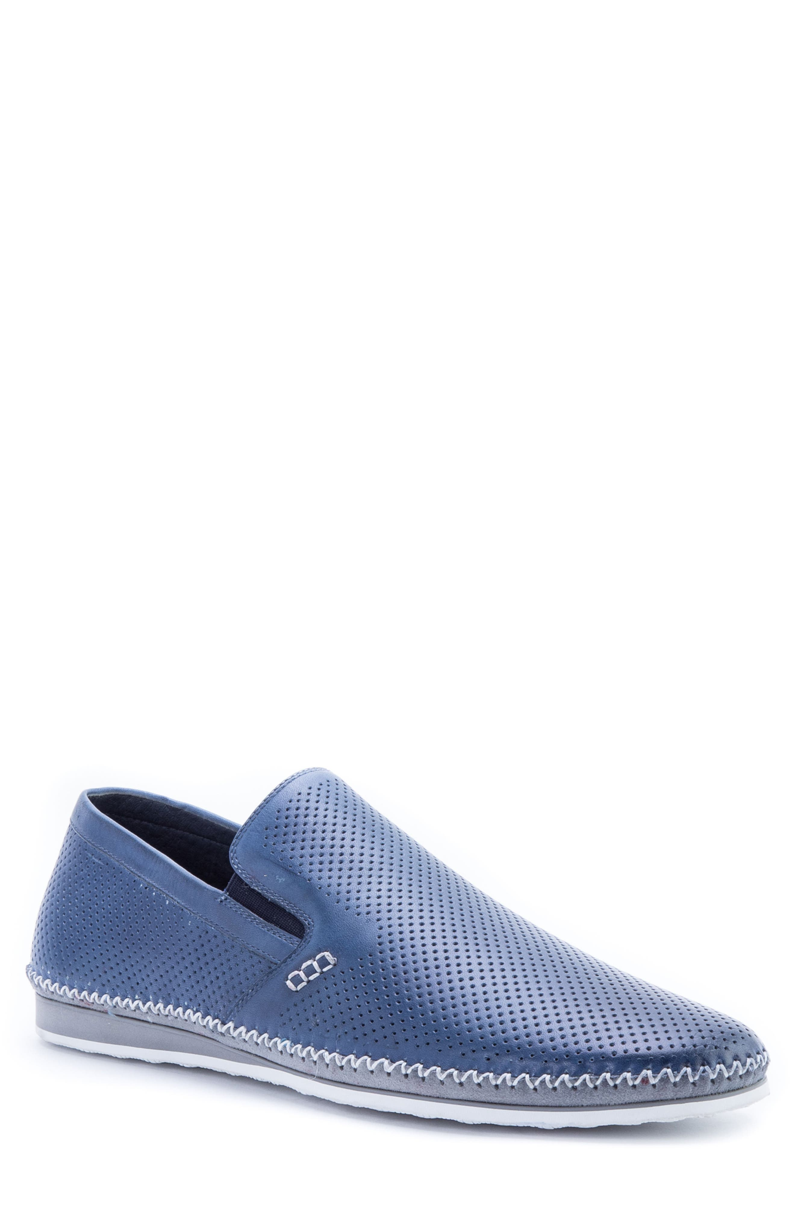'Merz' Slip-On,                         Main,                         color, Navy/ Navy Leather