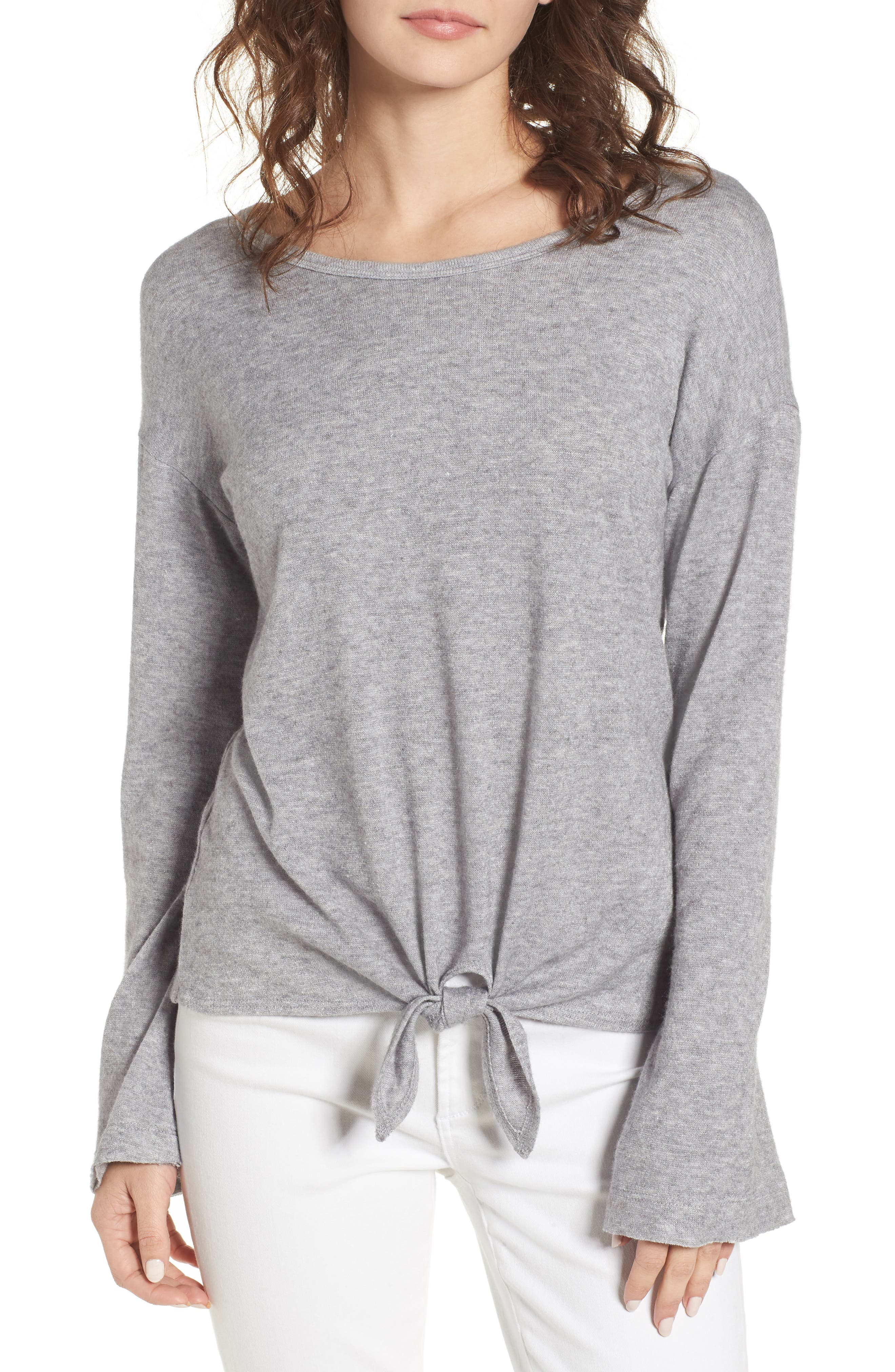 Tie Waist Pullover,                             Main thumbnail 1, color,                             Grey