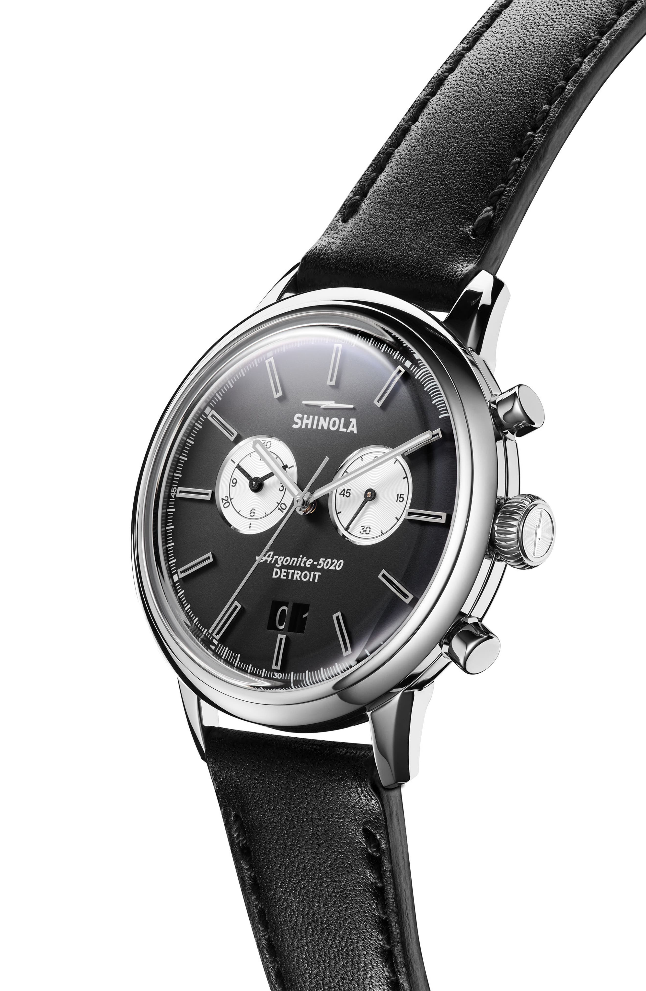 The Bedrock Chronograph Leather Strap Watch, 42mm,                             Alternate thumbnail 3, color,                             Black/ Silver