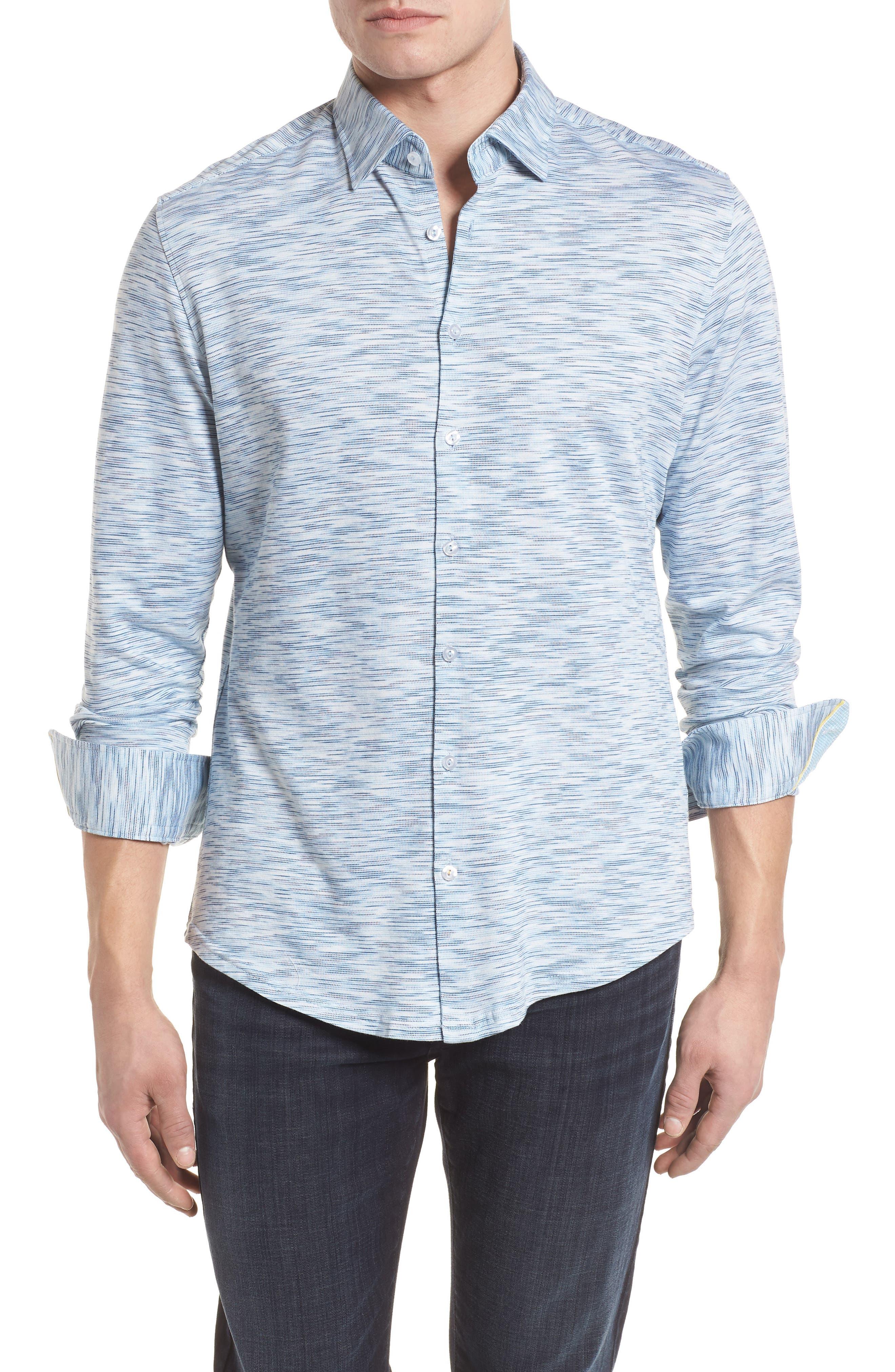 Contemporary Fit Print Sport Shirt,                         Main,                         color, Blue