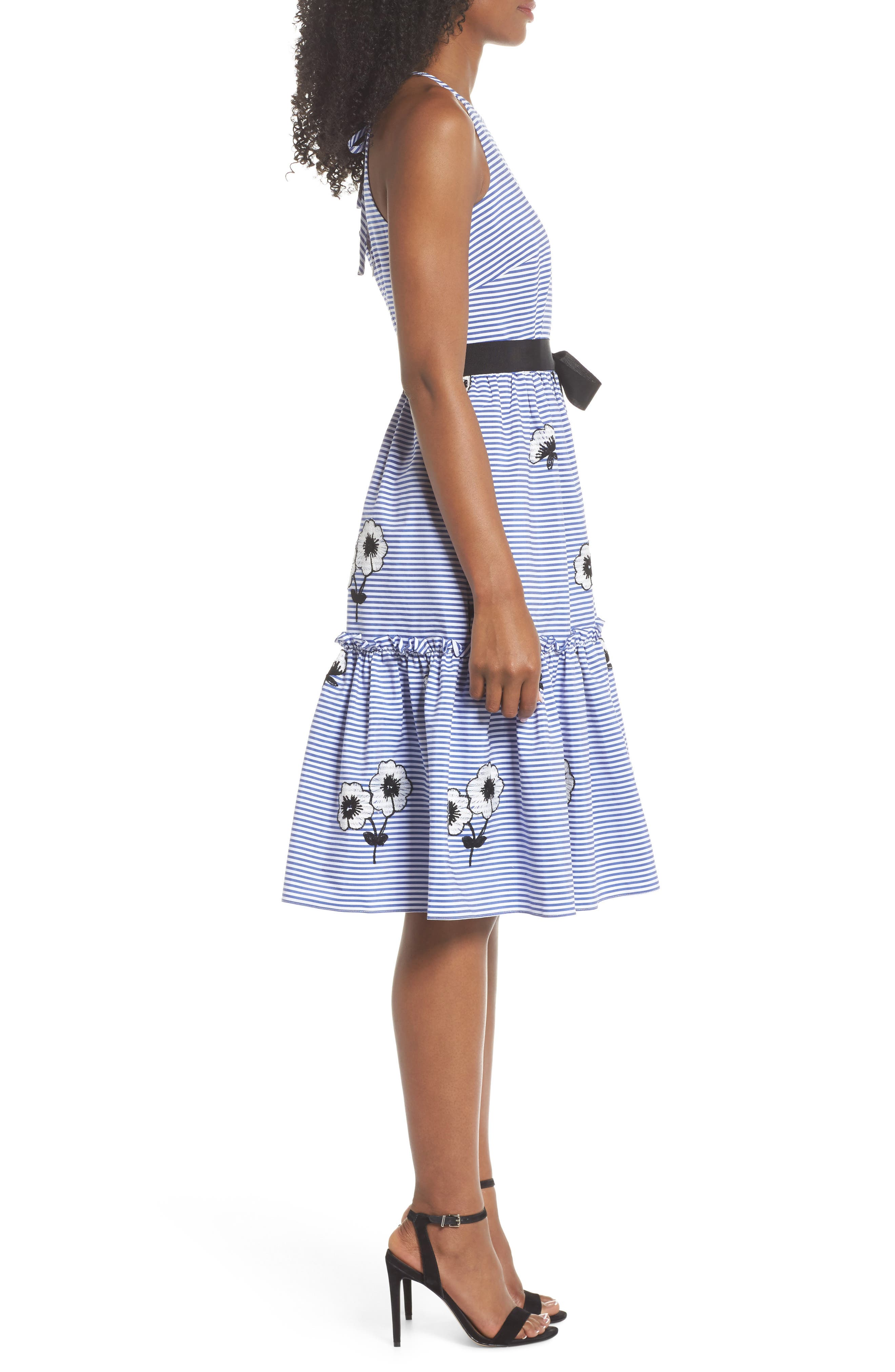 Embroidered Stripe Fit & Flare Dress,                             Alternate thumbnail 3, color,                             Blue/ White