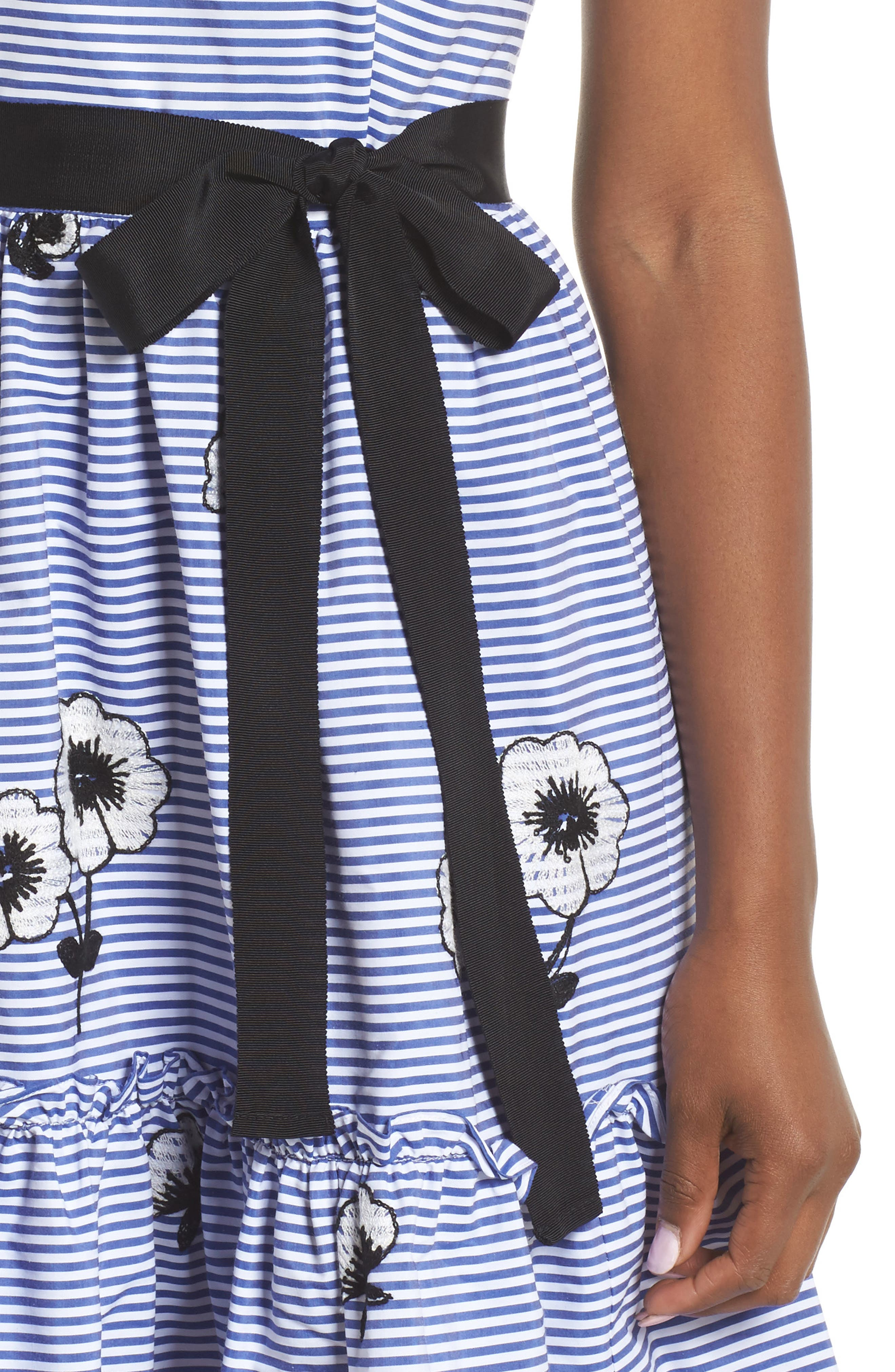 Embroidered Stripe Fit & Flare Dress,                             Alternate thumbnail 4, color,                             Blue/ White