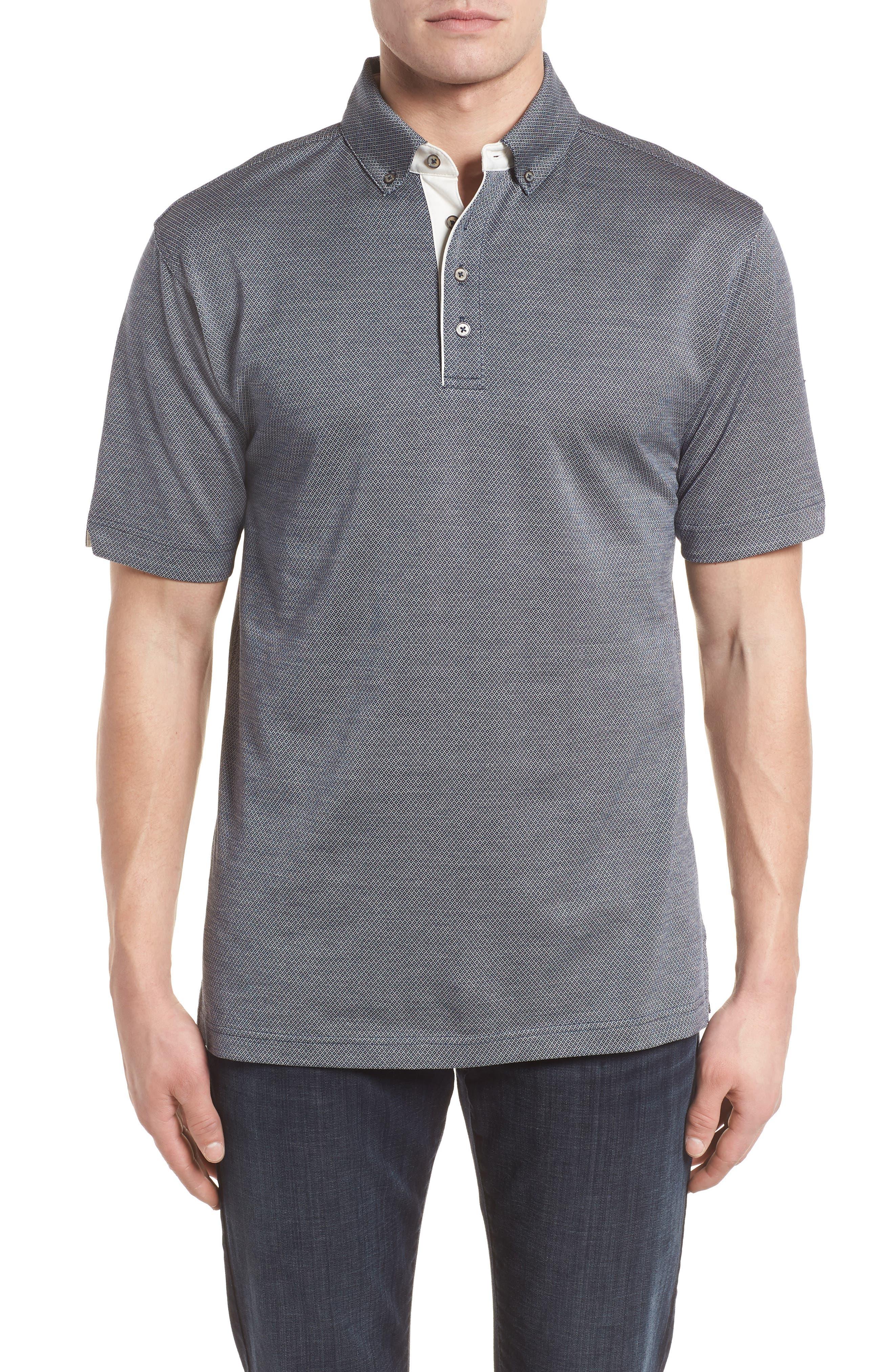 Mercerized Cotton Jacquard Polo,                         Main,                         color, Navy