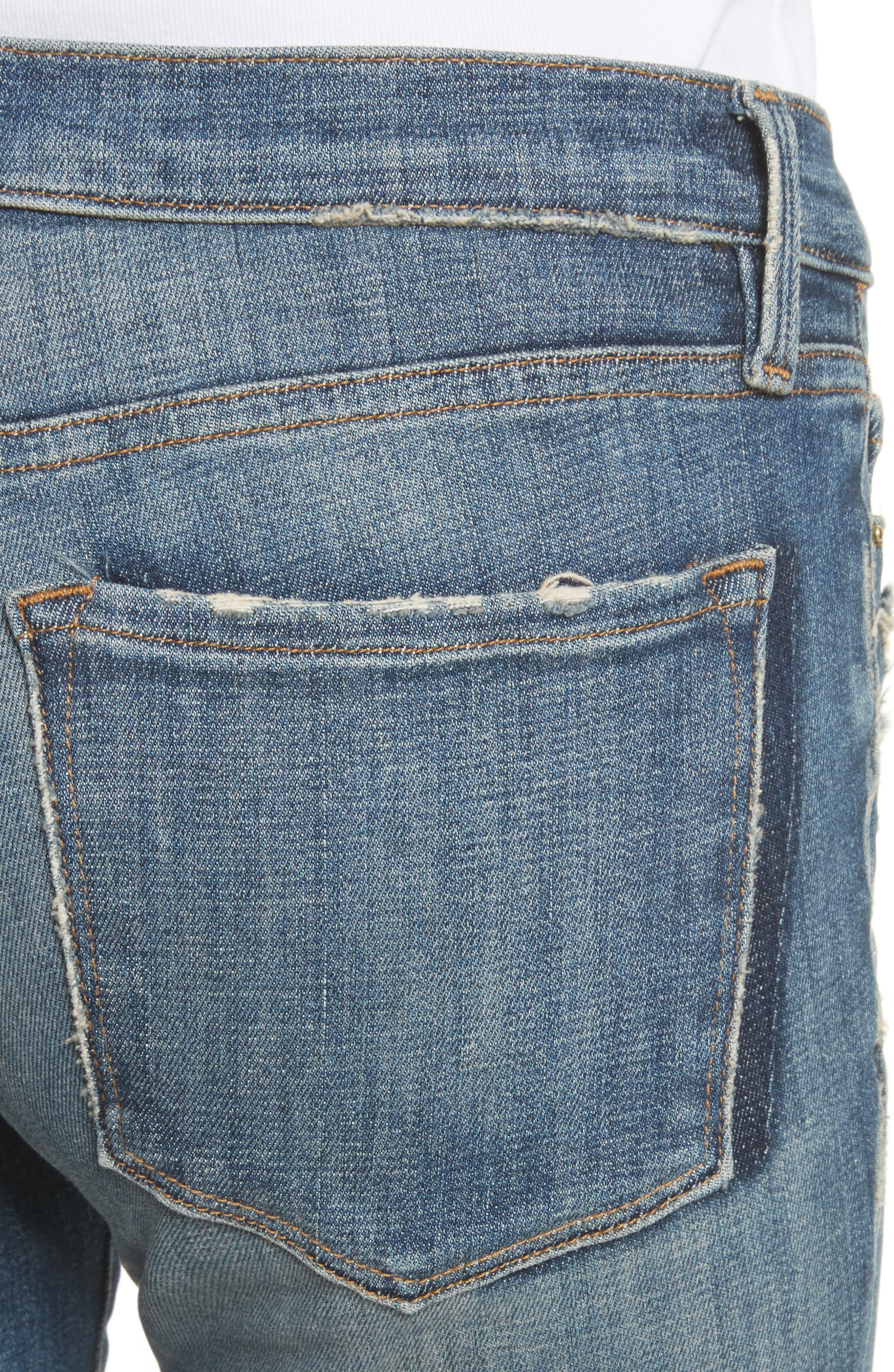 Le Skinny de Jeanne Raw Edge Skinny Jeans,                             Alternate thumbnail 4, color,                             Victoria Park