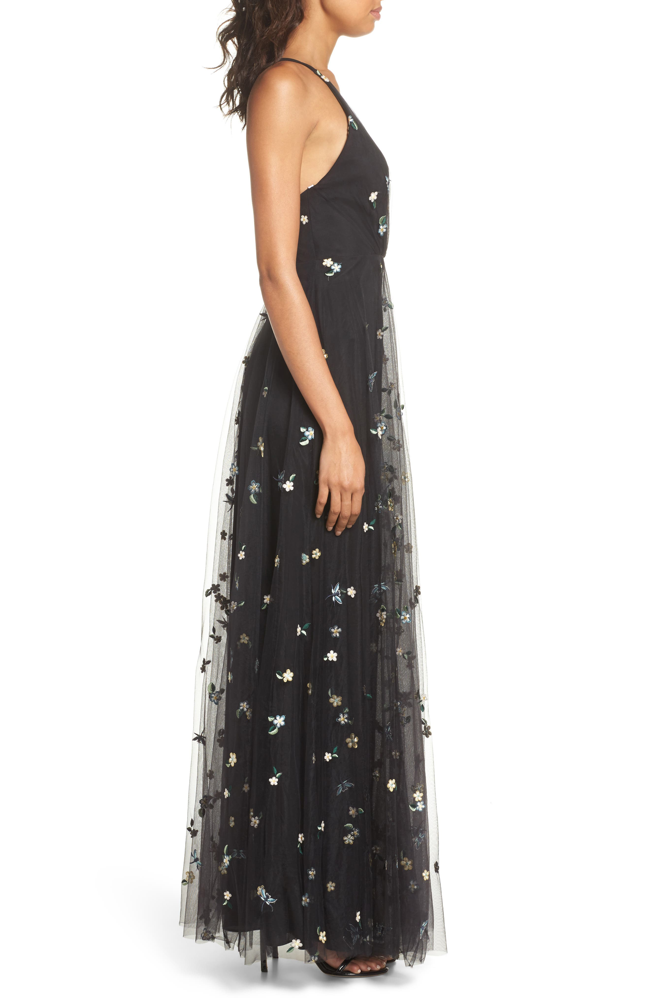 Chelsea Covent Garden Embroidered Gown,                             Alternate thumbnail 3, color,                             Black Multi