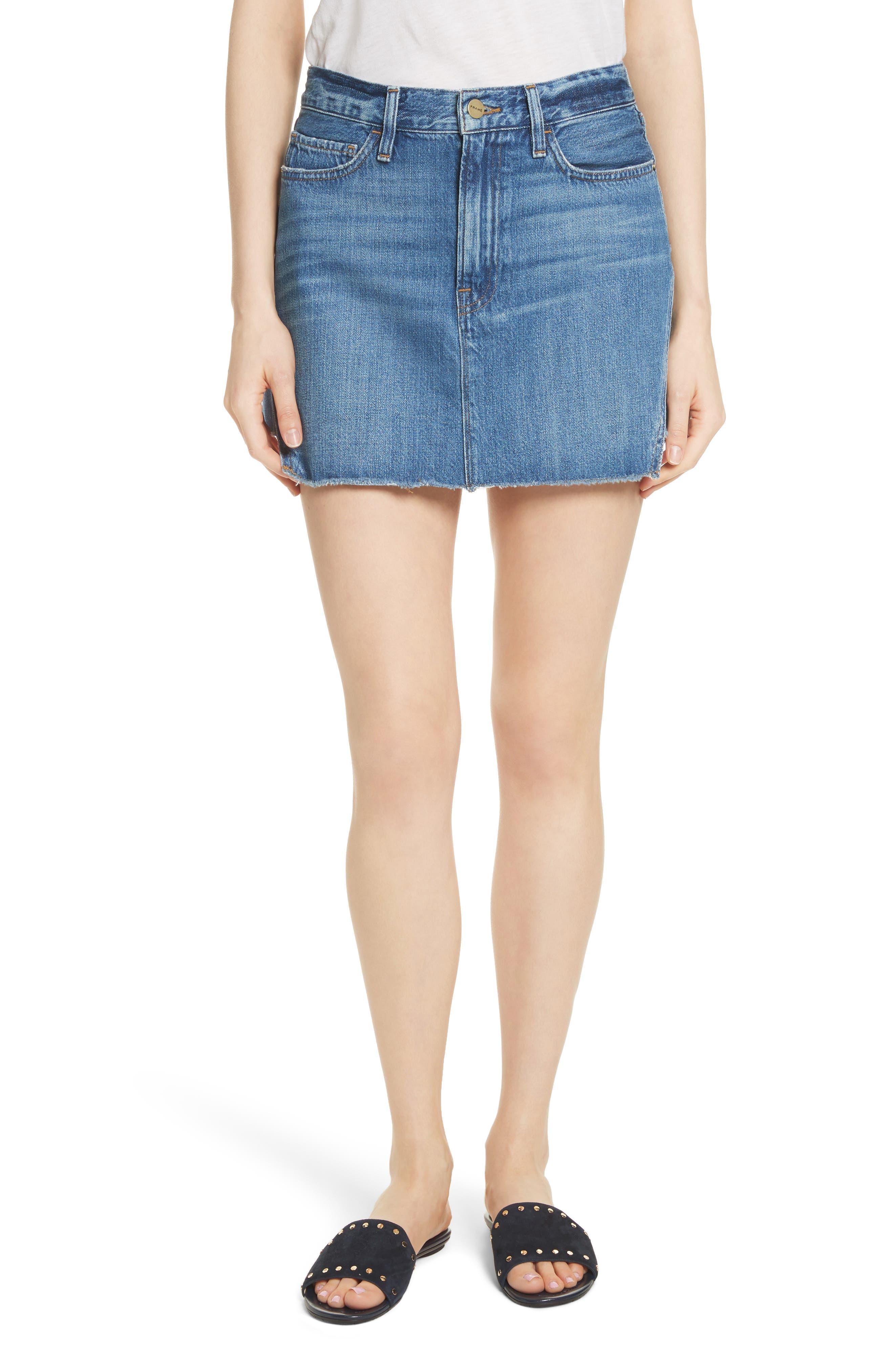 FRAME Le Mini Step Hem Denim Skirt (Ansdale)