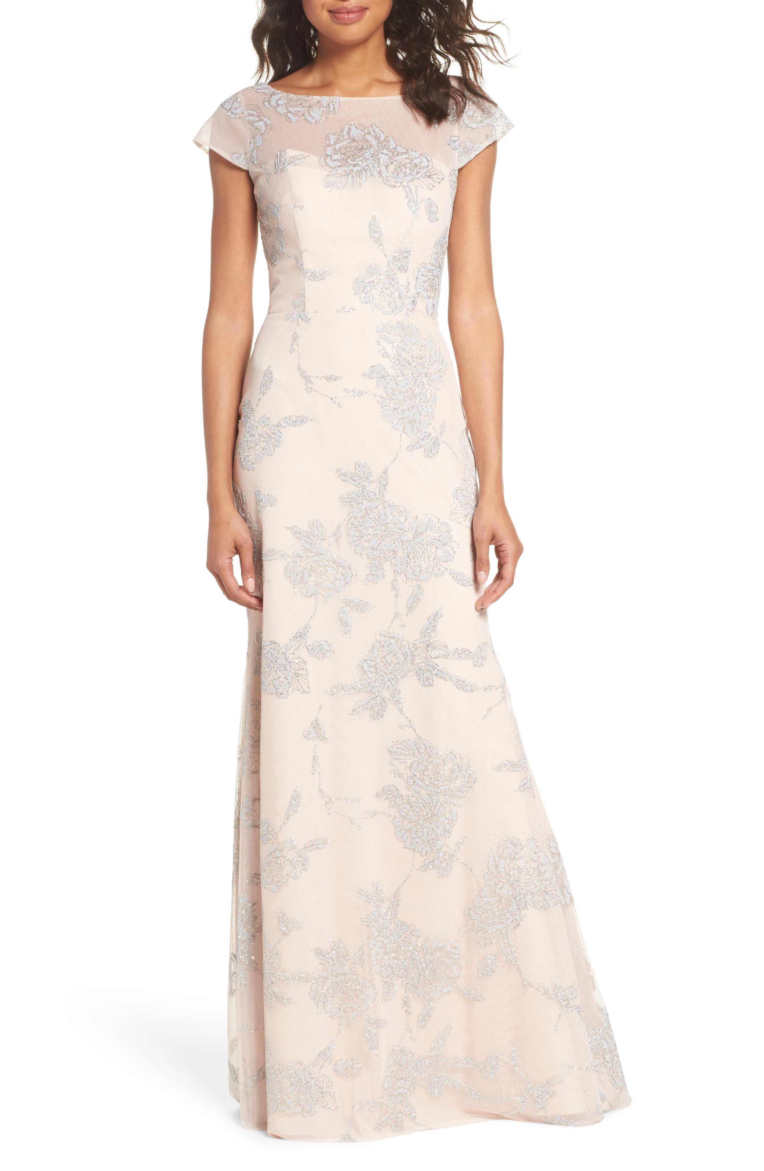 Hayley Paige Occasions Embellished Bateau Neck Gown