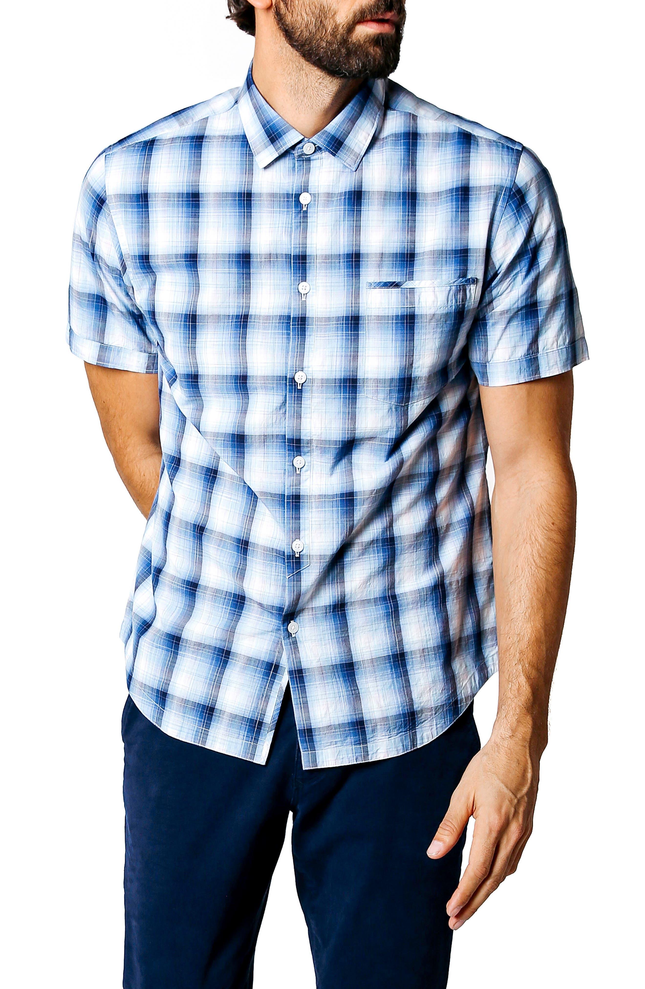 Dark Desert Trim Fit Plaid Sport Shirt,                         Main,                         color, Indigo