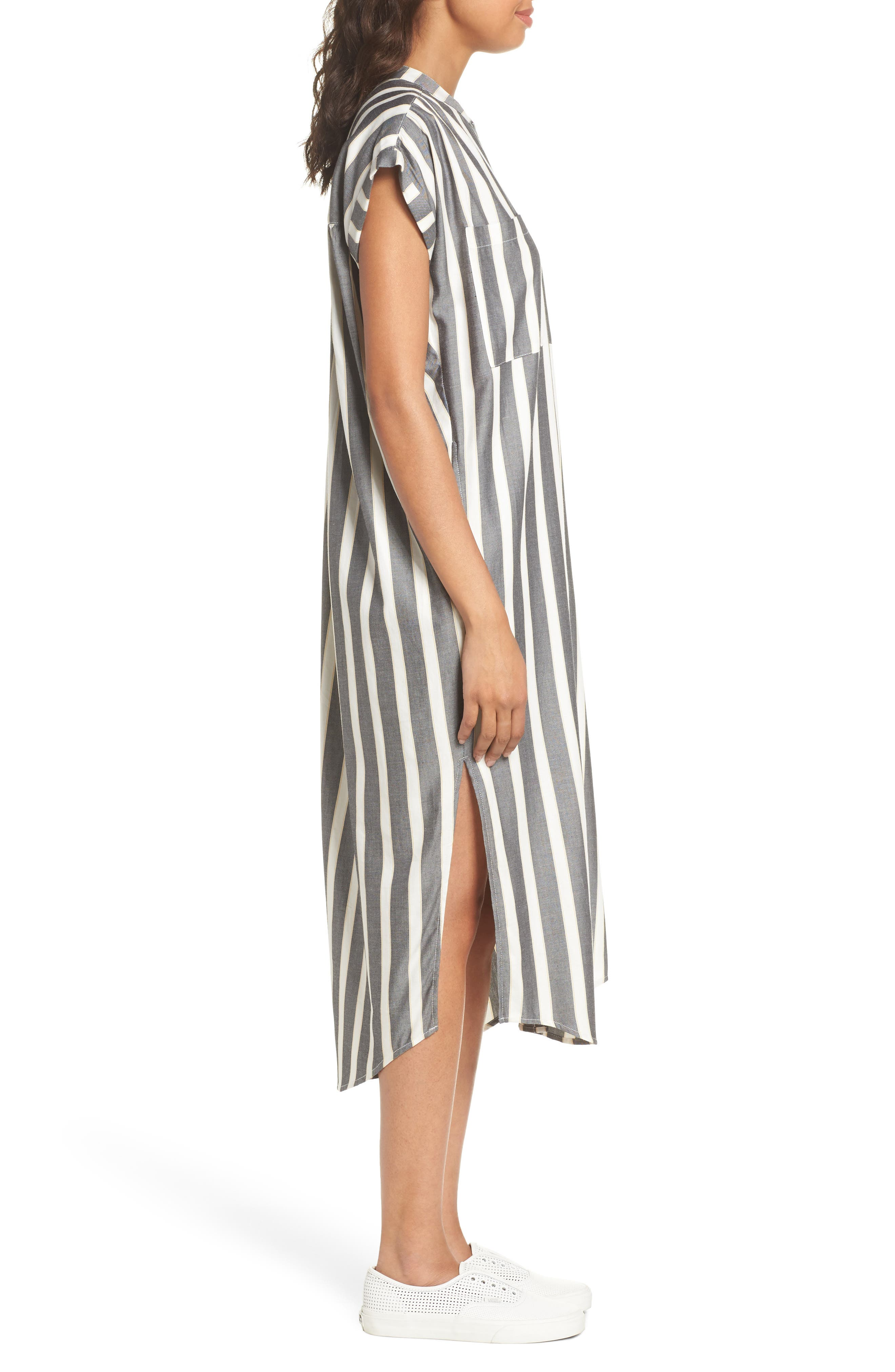 Haze Shirtdress,                             Alternate thumbnail 3, color,                             Black With Cream Stripe