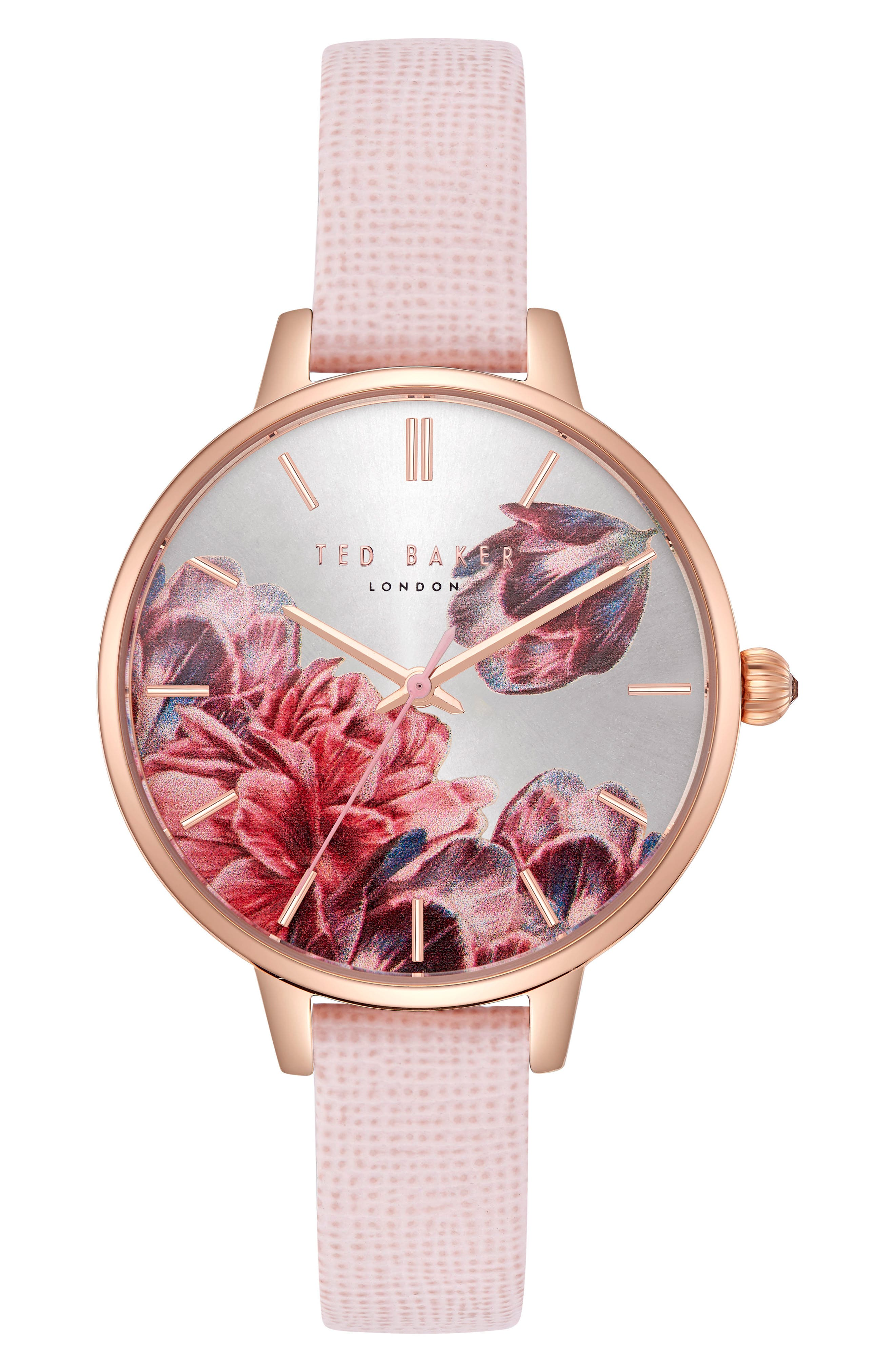 Kate Leather Strap Watch, 36mm,                             Main thumbnail 1, color,                             Pink/ Printed/ Rose Gold