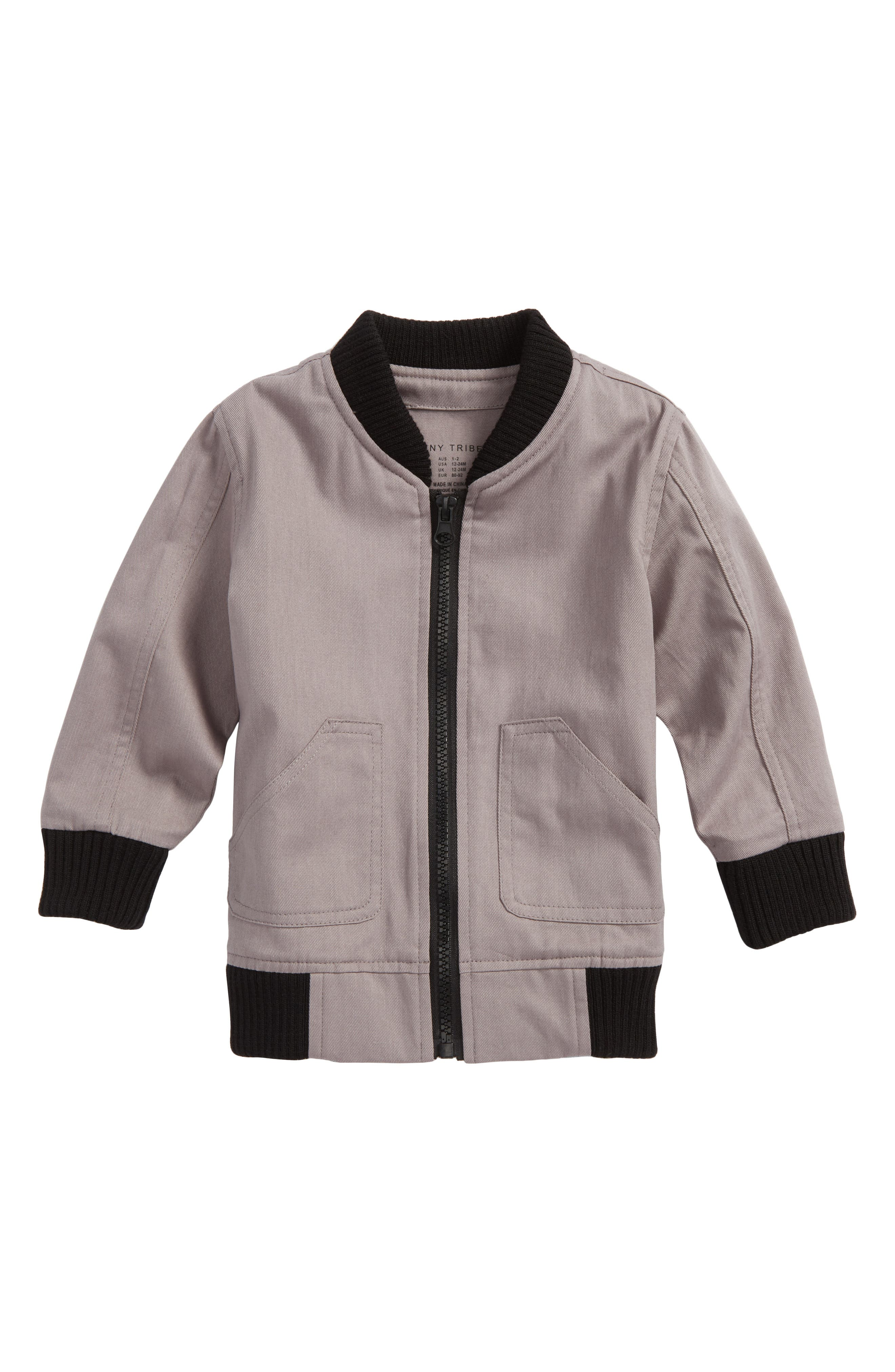 One Fine Apple Bomber Jacket,                             Main thumbnail 1, color,                             Grey