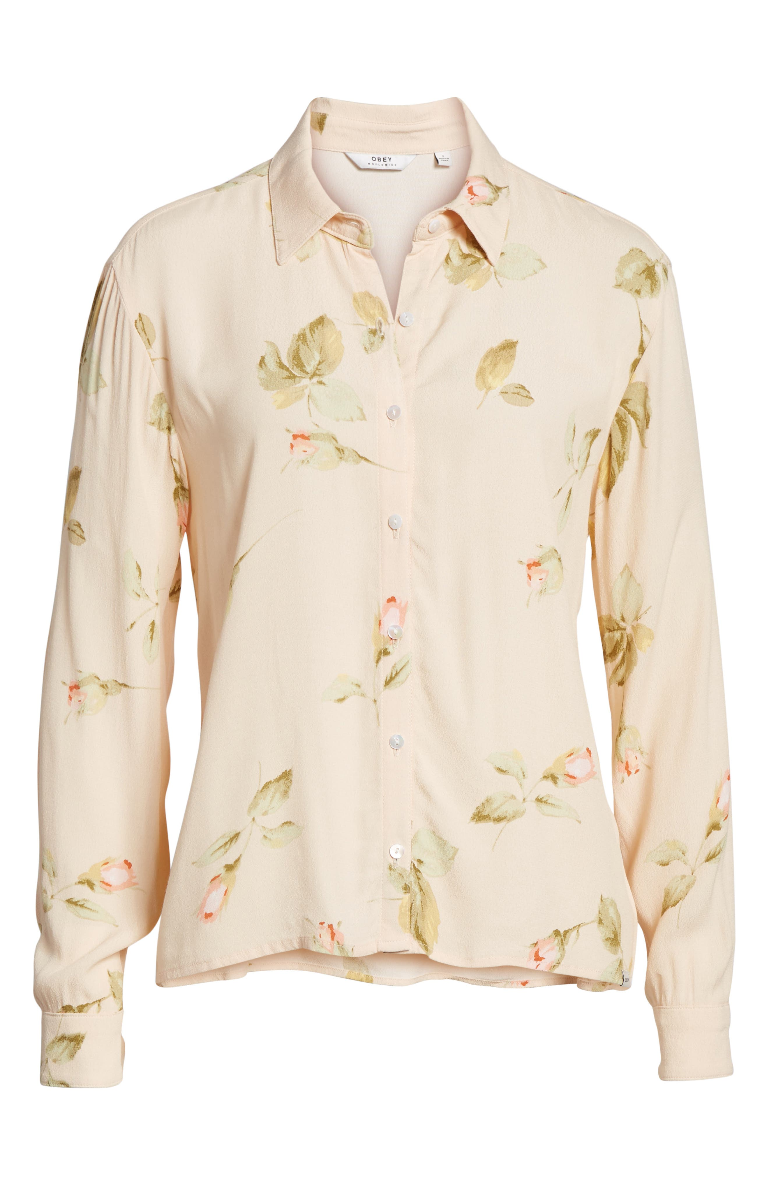 Sinclair Floral Print Shirt,                             Alternate thumbnail 6, color,                             Taupe Multi