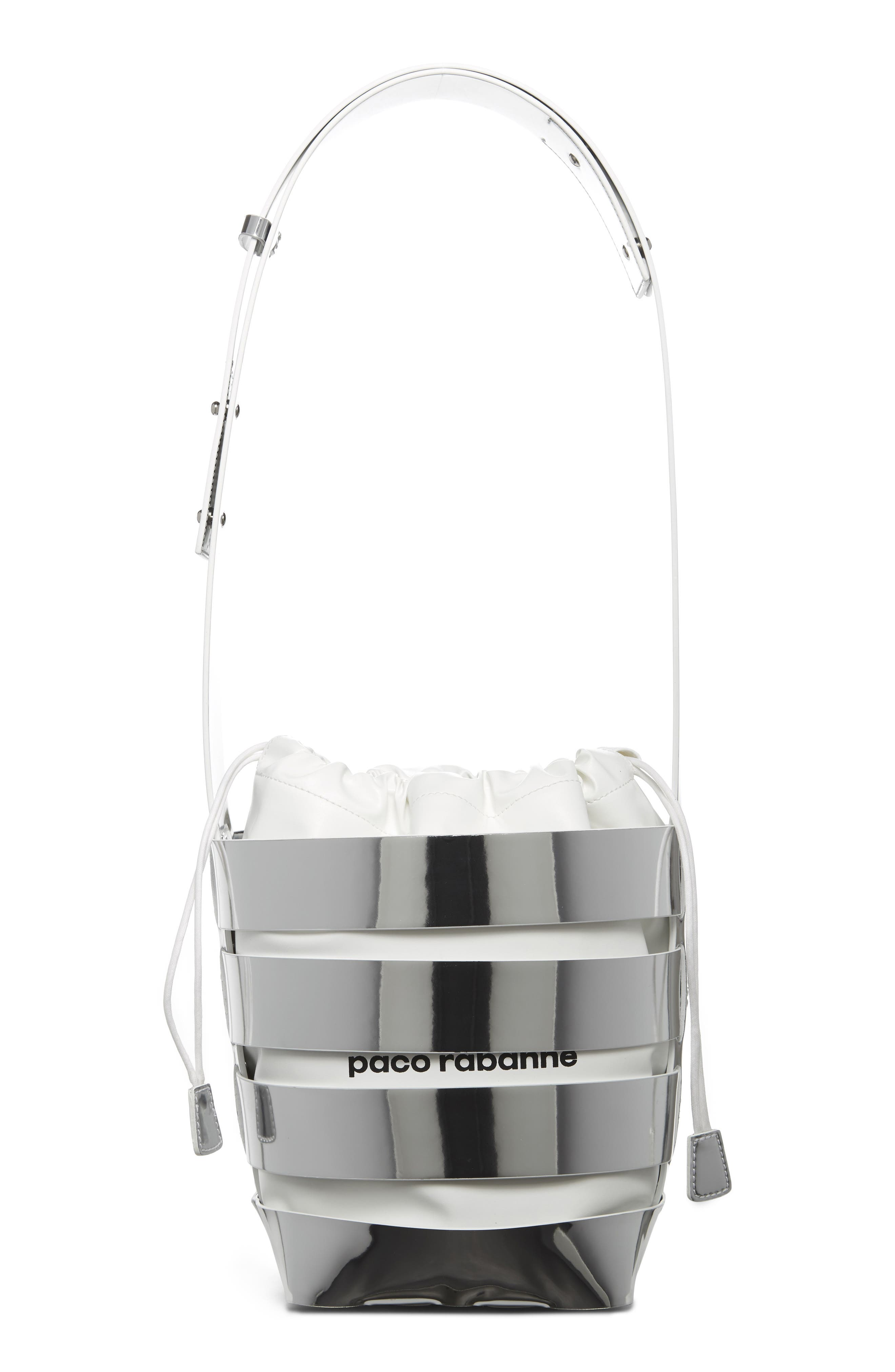 paco rabanne Small Mirror Cage Faux-Leather Hobo Bag