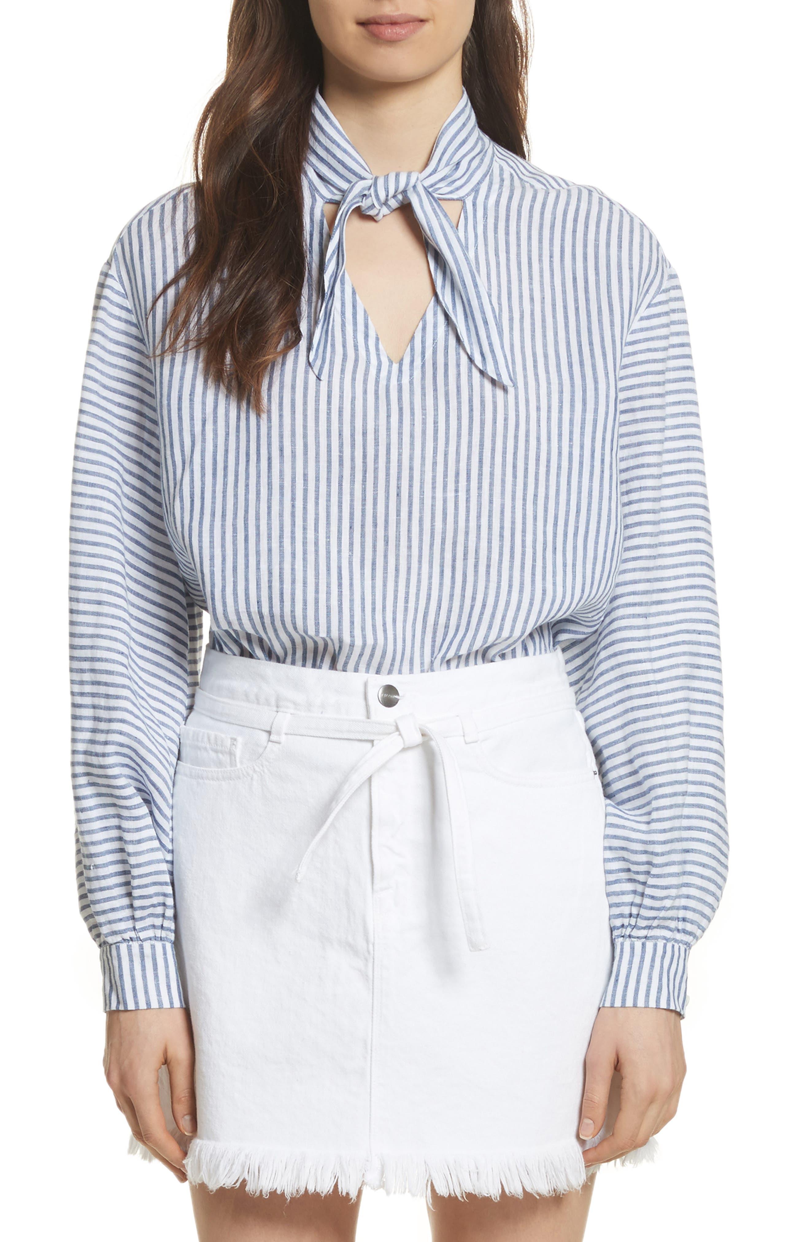 Stripe Handkerchief Blouse,                         Main,                         color, Medium Blue Multi