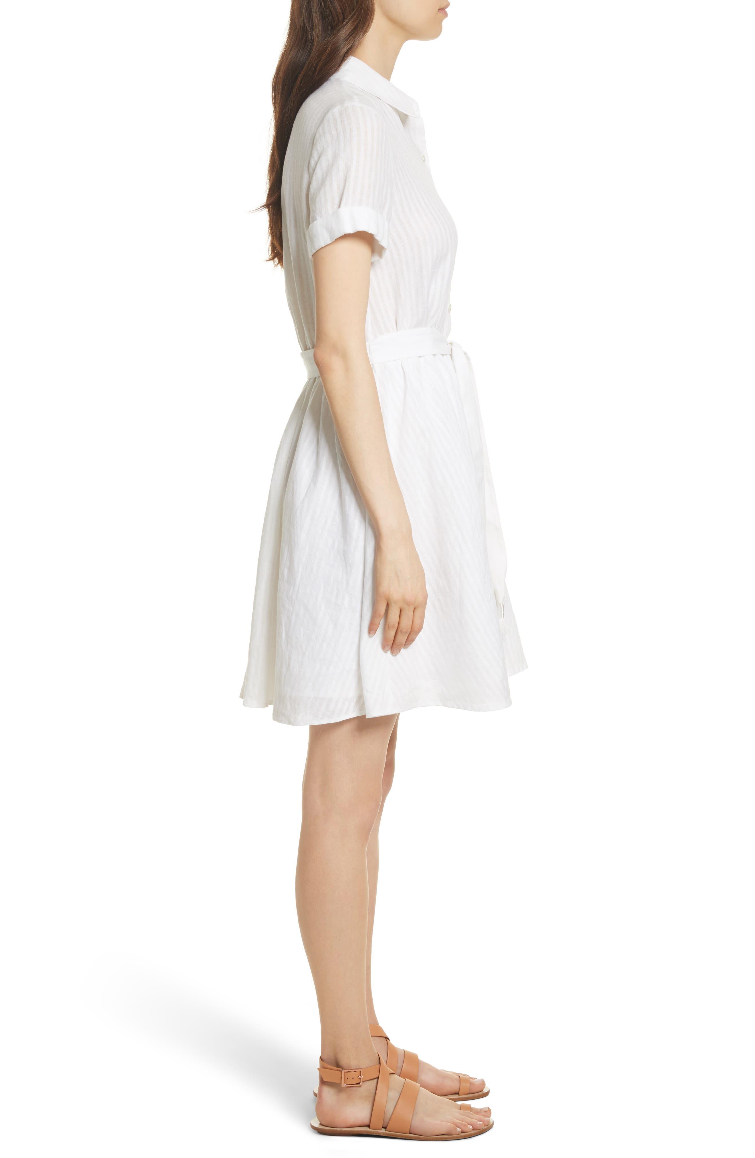 Belted Linen Dress,                             Alternate thumbnail 3, color,                             Blanc
