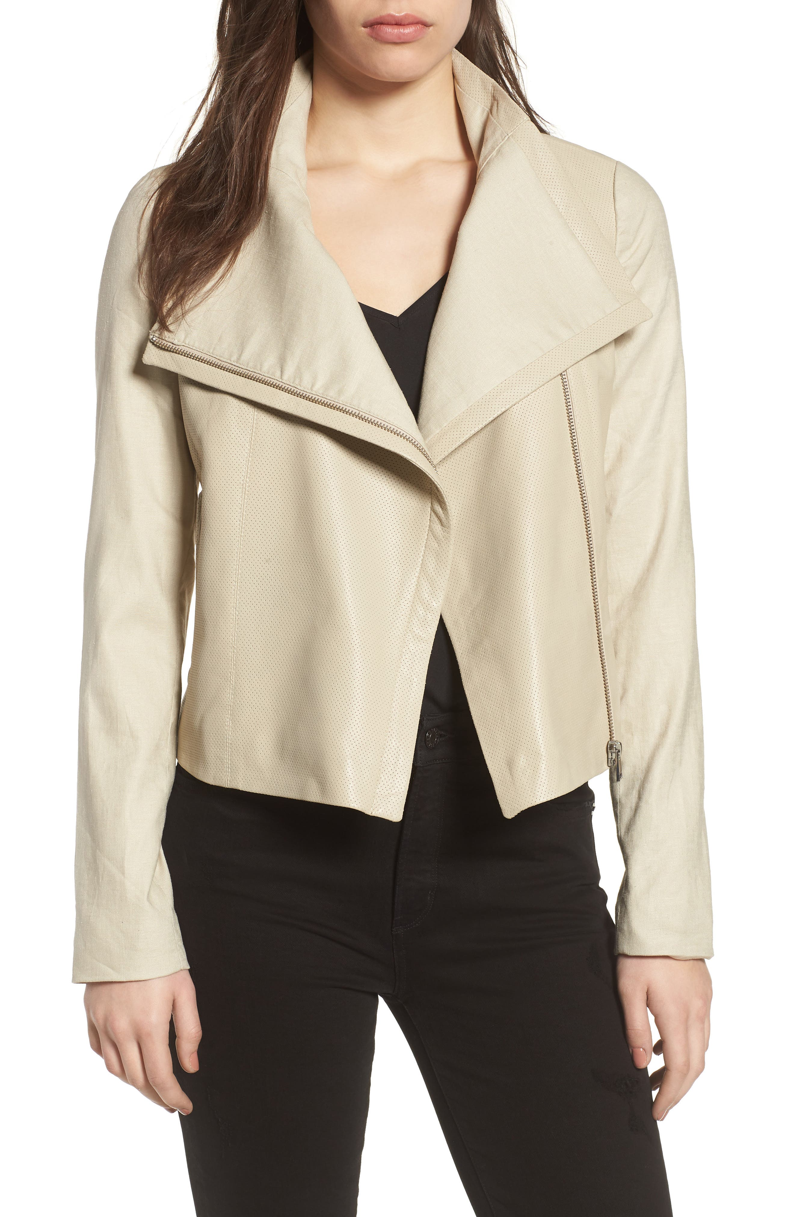 LARMARQUE Leather & Linen Mix Jacket