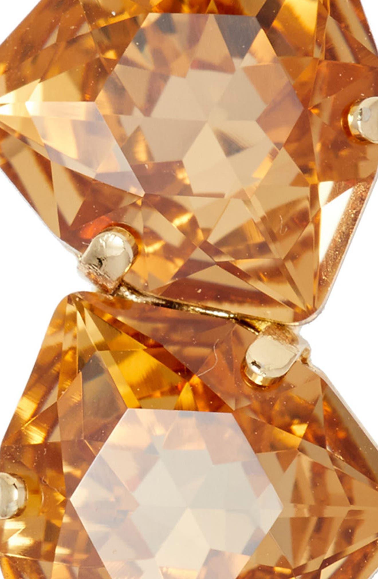 Triple Crystal Tige Boule Barrette,                             Alternate thumbnail 3, color,                             Light Colorado Topaz/ Gold