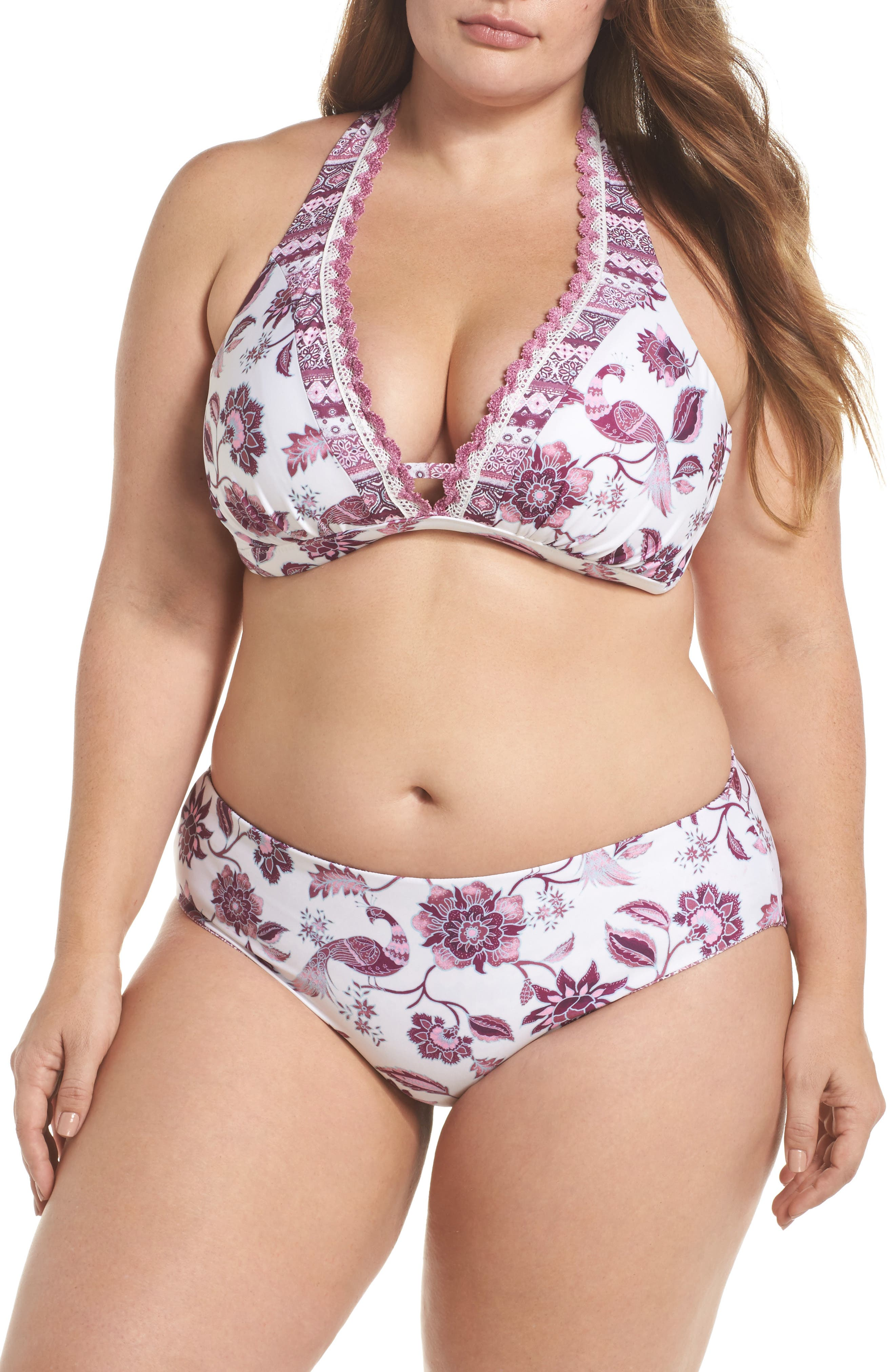 Tahiti Halter Bikini Top,                             Alternate thumbnail 5, color,                             Purple Multi