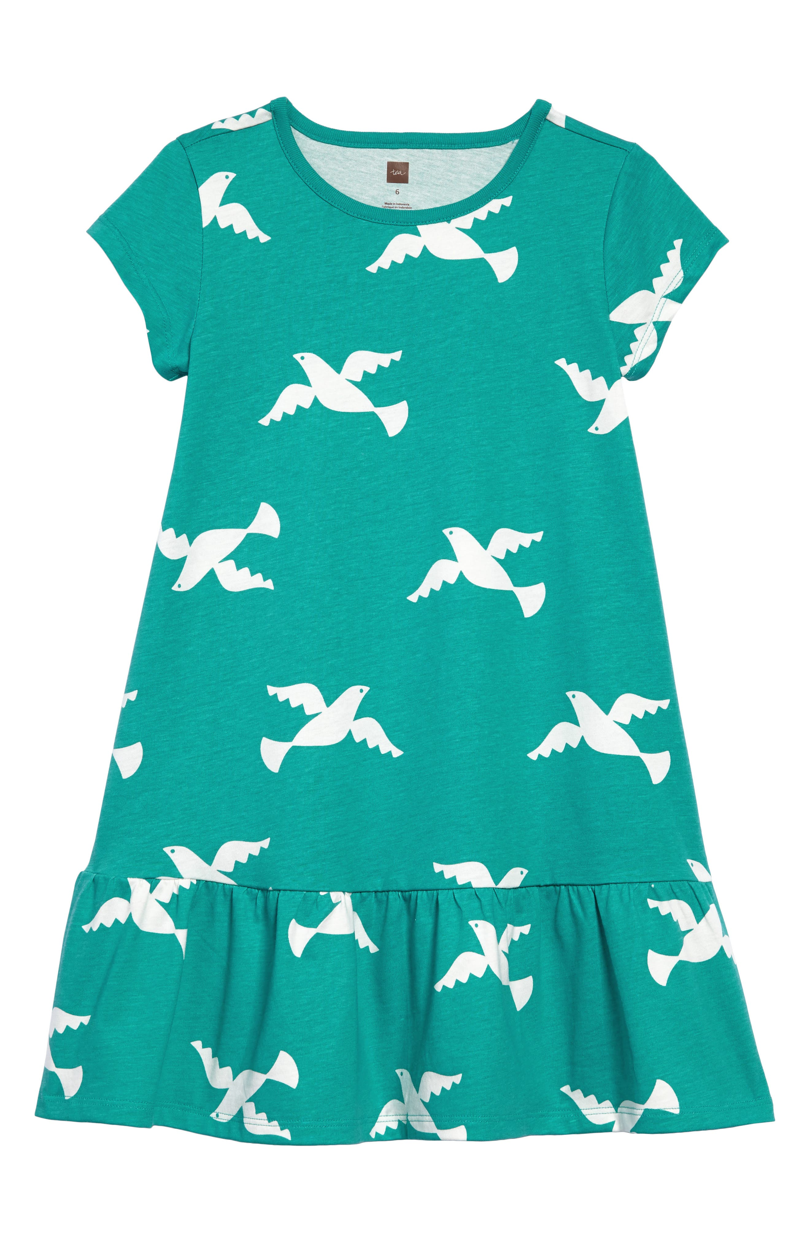 Birds in Flight Ruffle Dress,                         Main,                         color, Doves