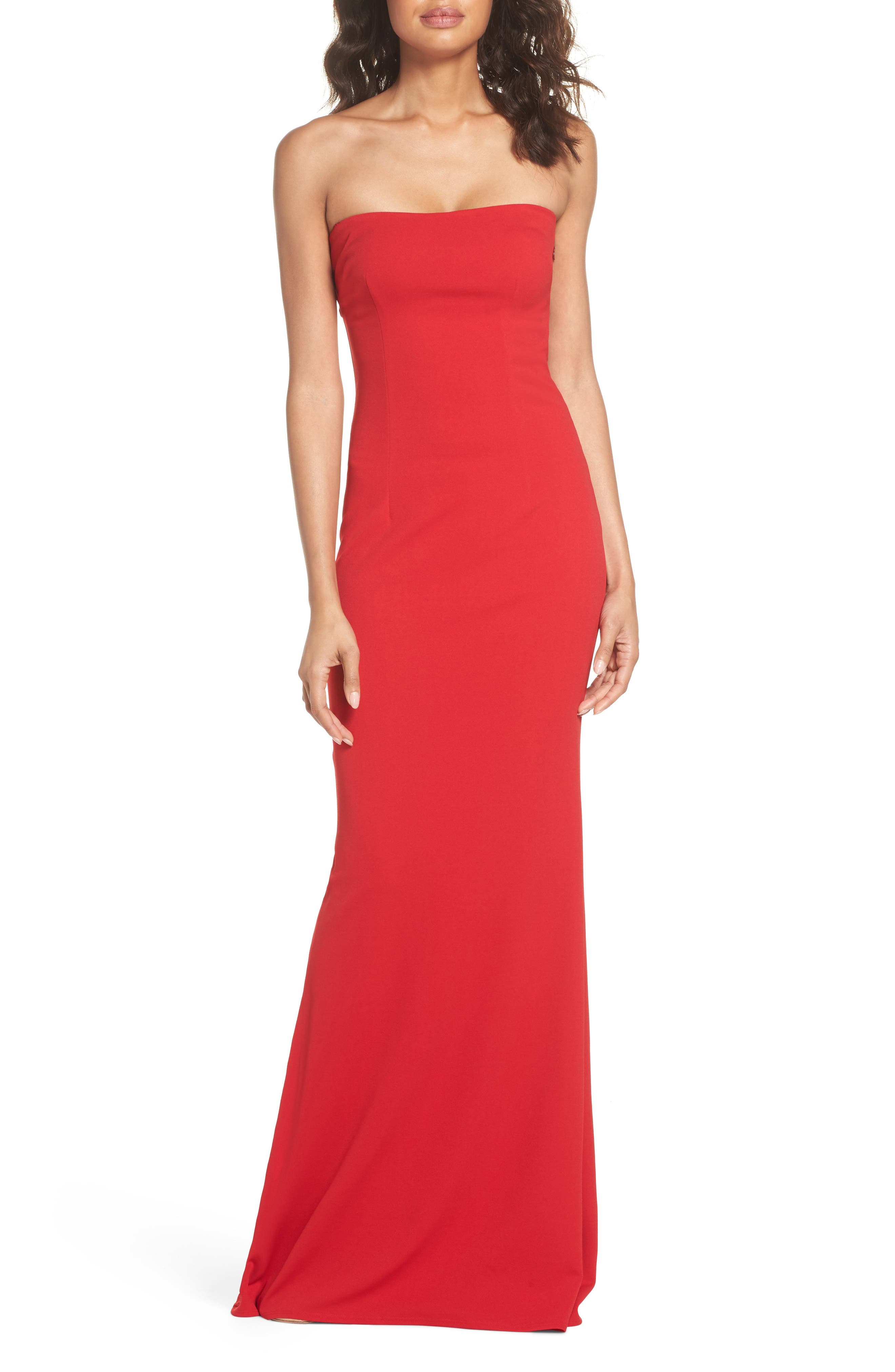 Mary Kate Strapless Cutout Back Gown,                         Main,                         color, Red