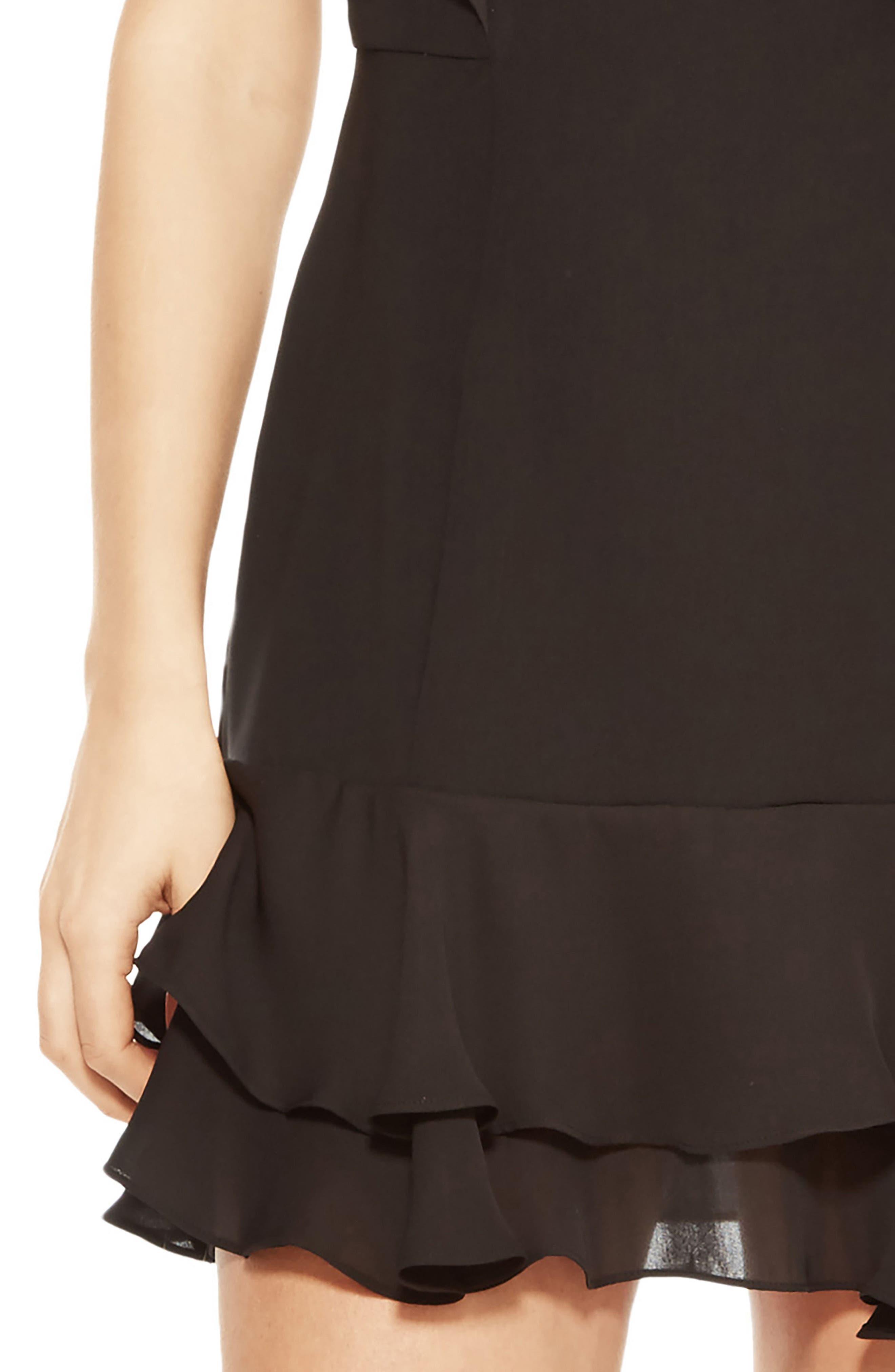 Berlin Ruffle Dress,                             Alternate thumbnail 4, color,                             Black