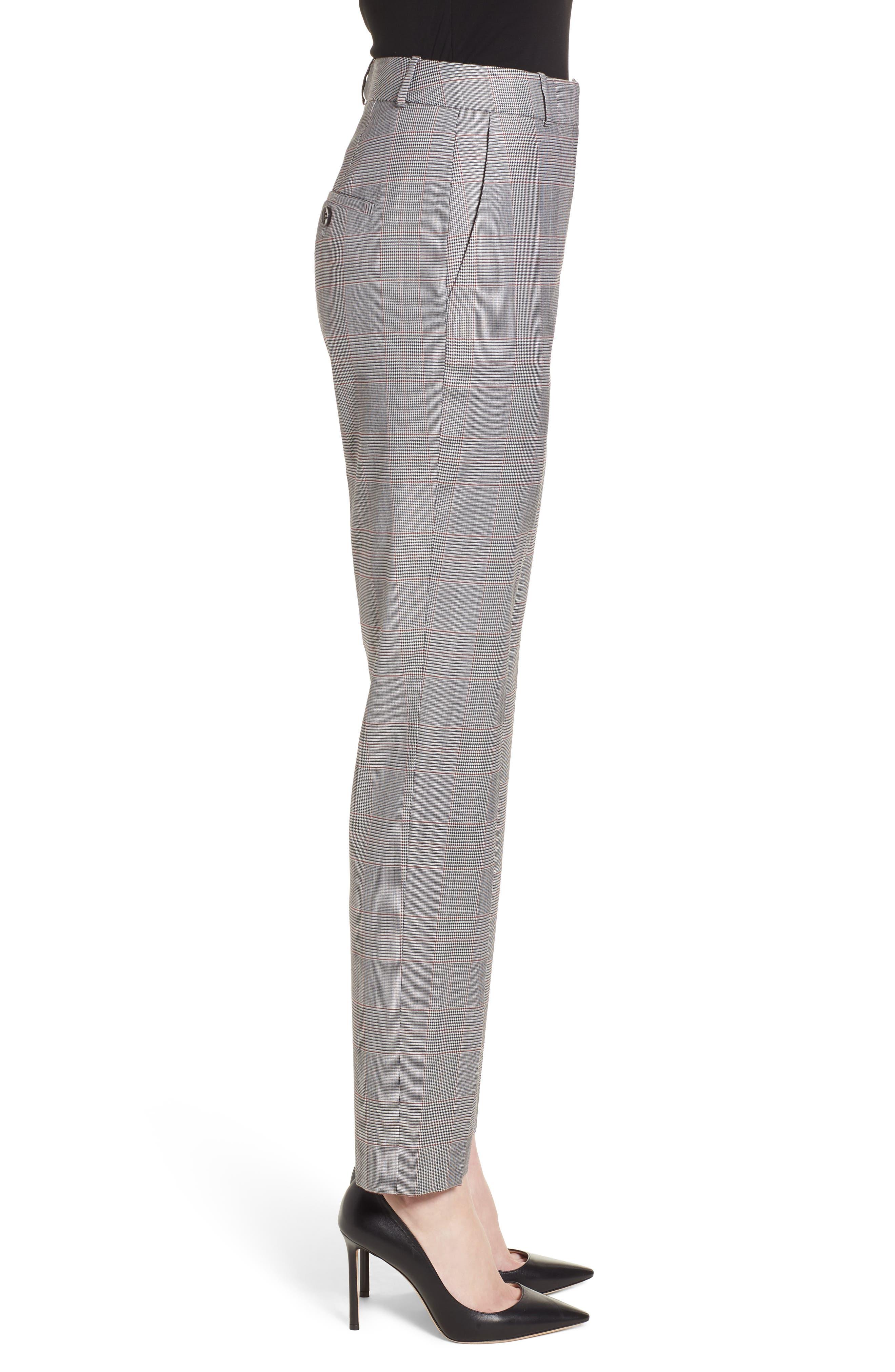 Tofilia Glencheck Slim Fit Trousers,                             Alternate thumbnail 3, color,                             Dark Sunset Orange Fantasy
