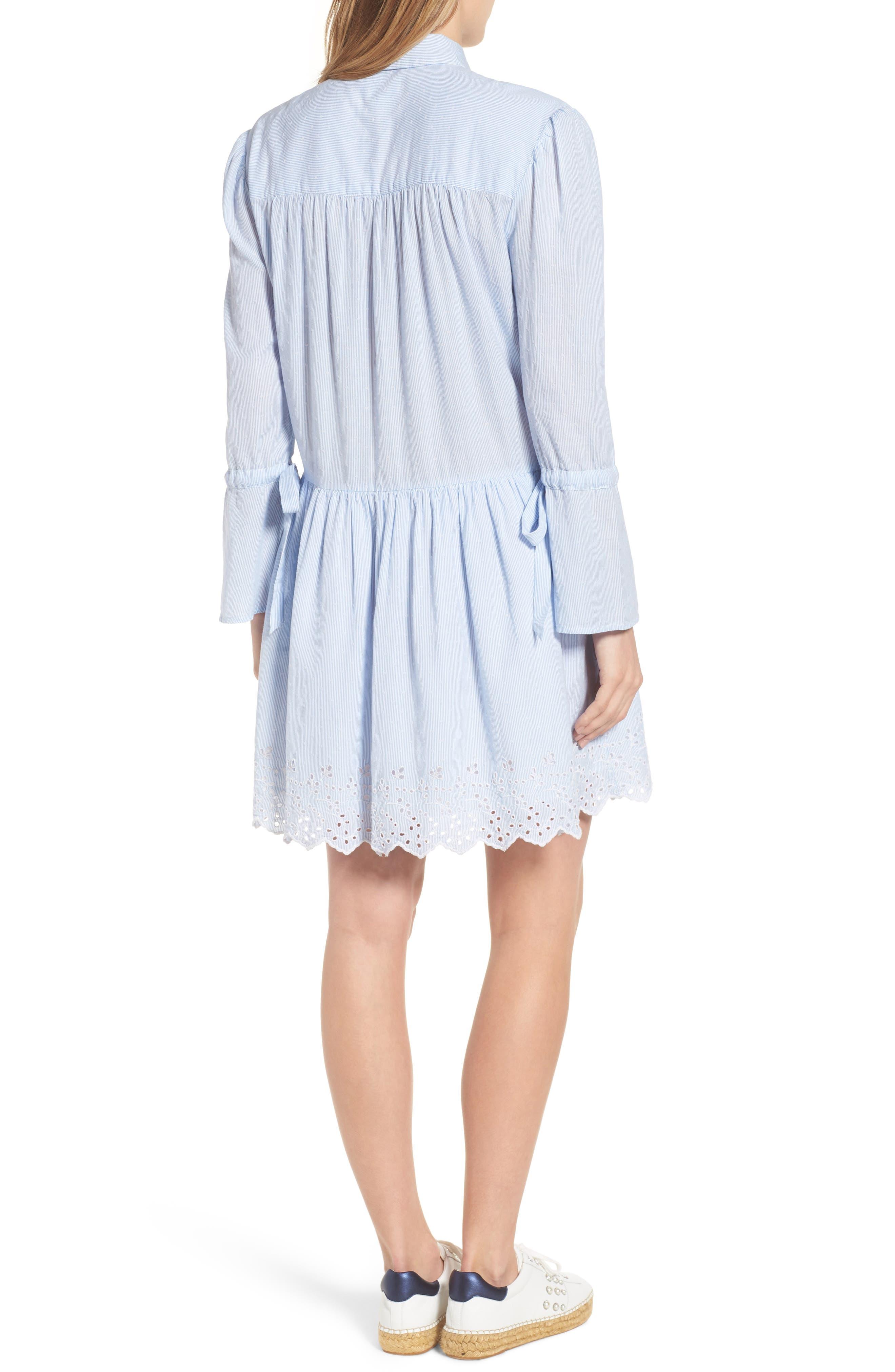Pinstripe Eyelet Trim Cotton Shirtdress,                             Alternate thumbnail 2, color,                             Blue- White Stripe