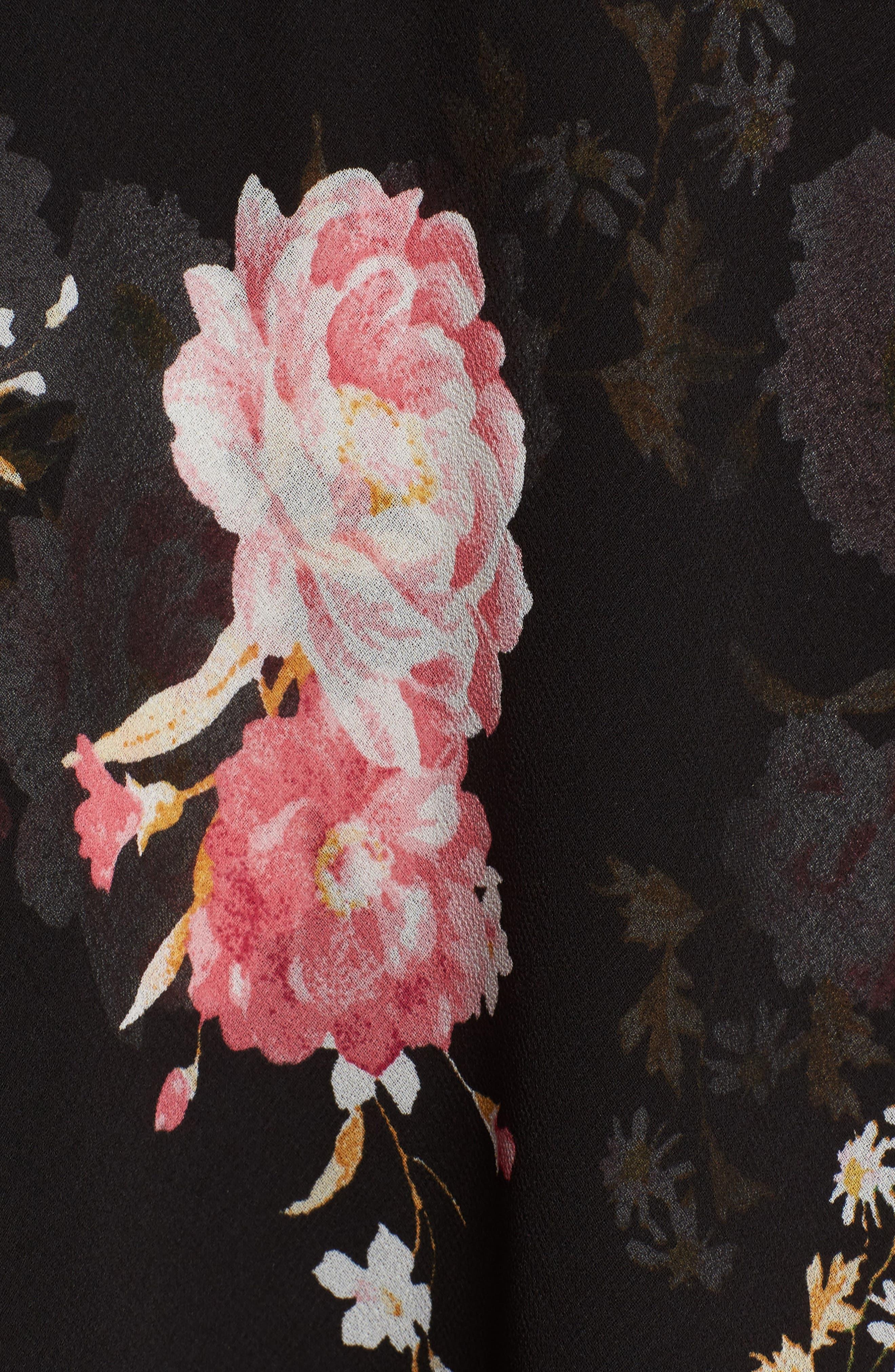 Polermo Wrap Midi Dress,                             Alternate thumbnail 5, color,                             Black Floral