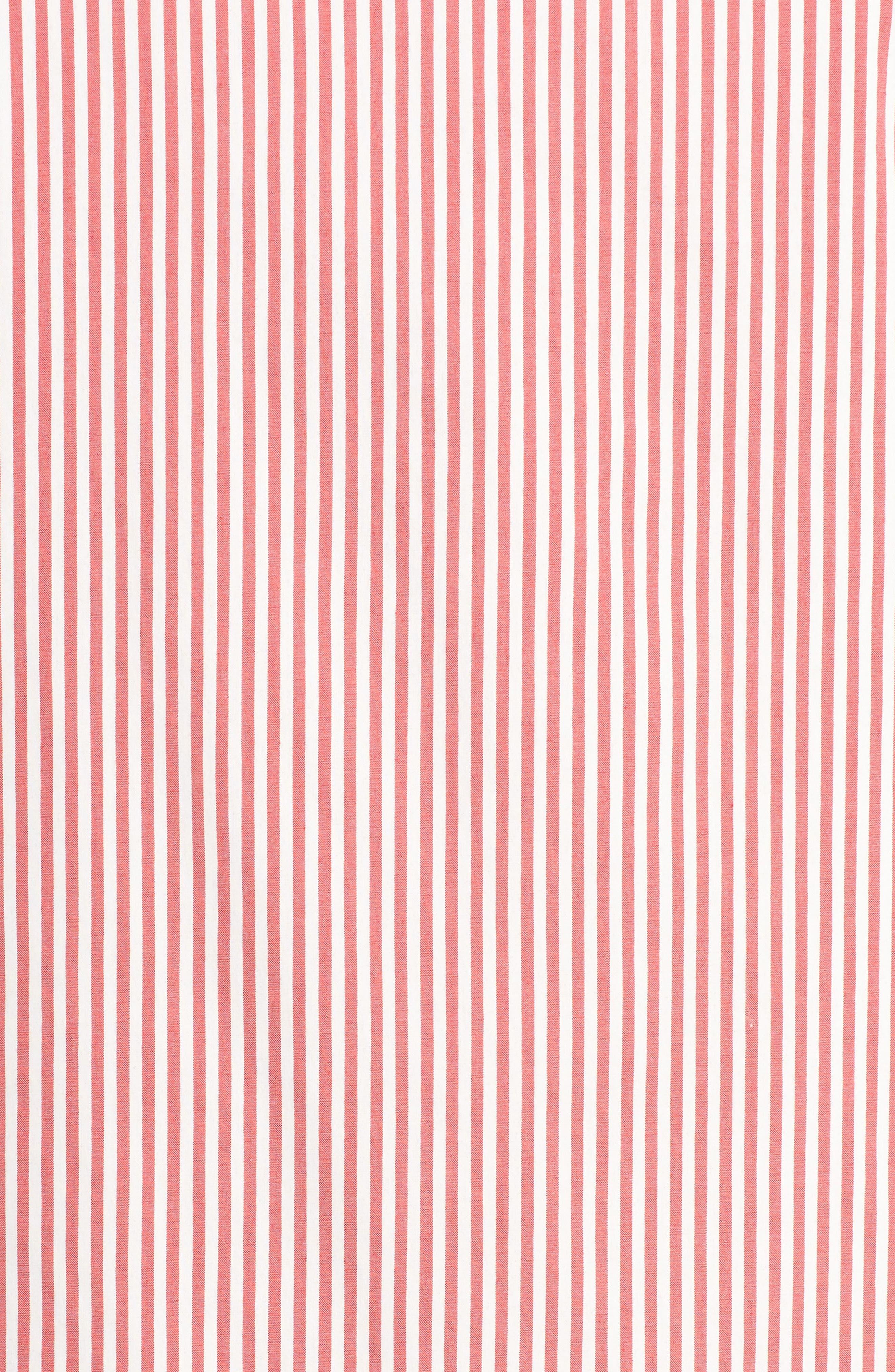 Ruffle Sleeve Stripe Shift Dress,                             Alternate thumbnail 5, color,                             Red/ White