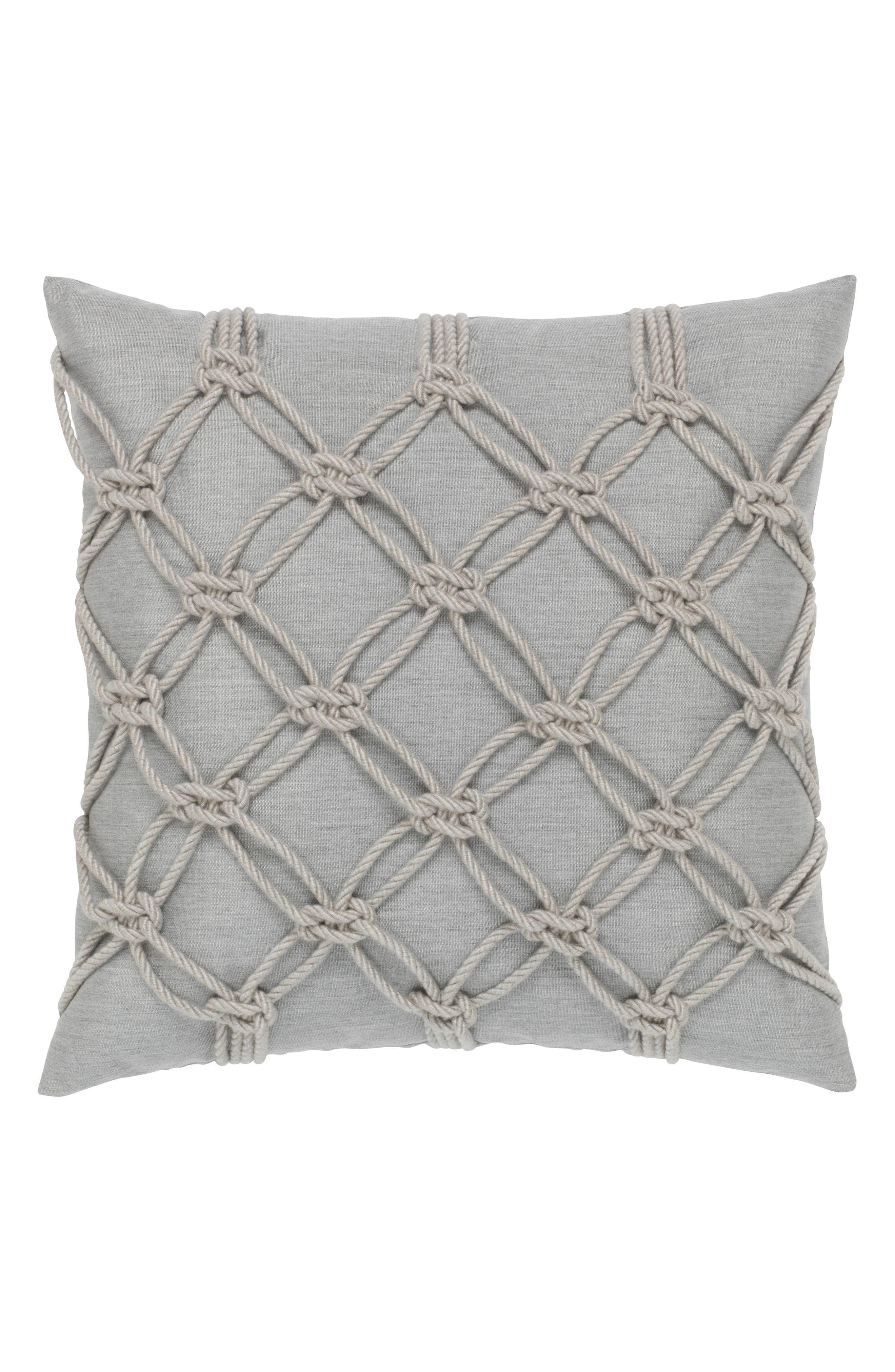 Granite Rope Indoor/Outdoor Accent Pillow,                         Main,                         color, Grey