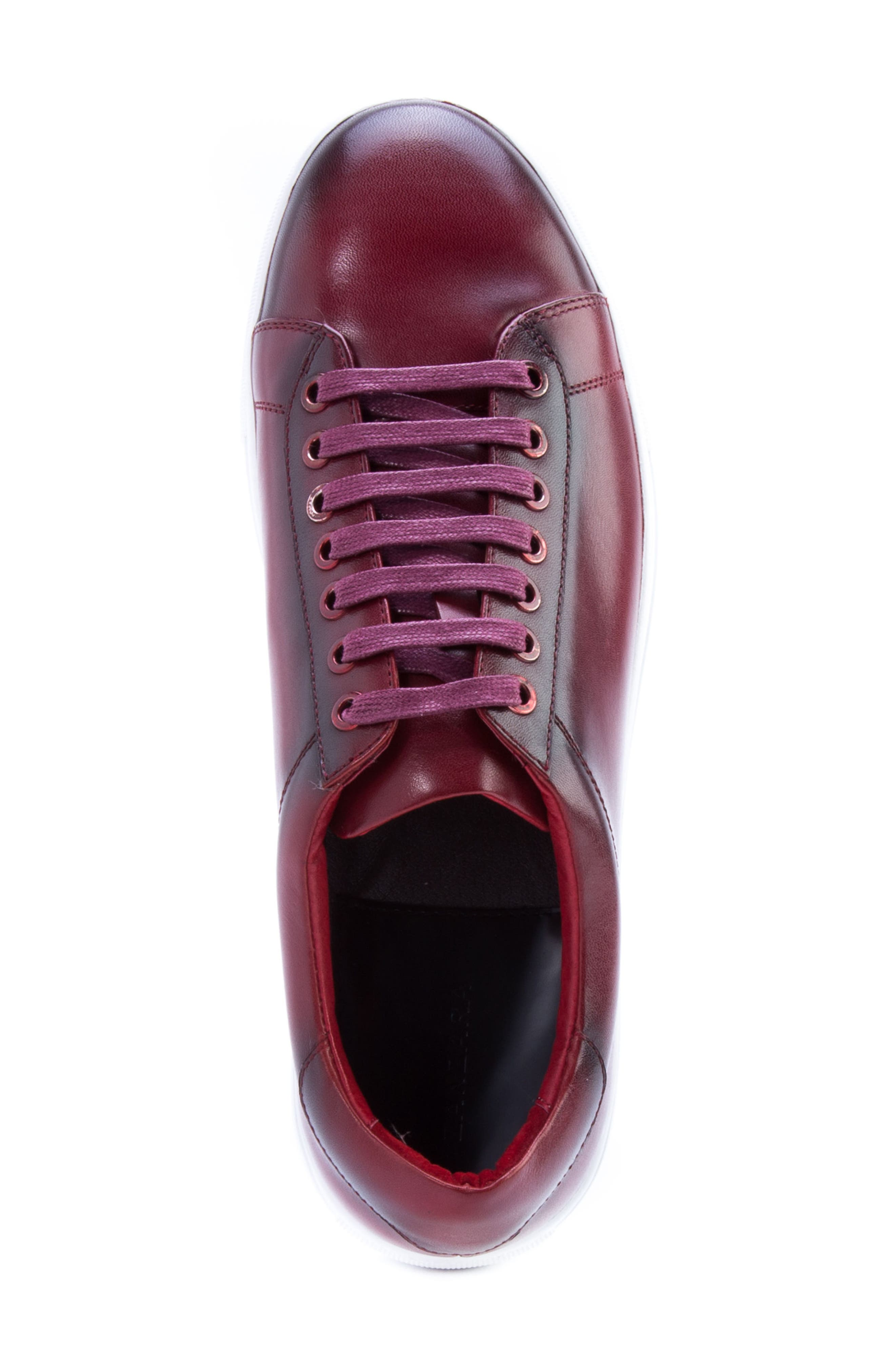 Music Low Top Sneaker,                             Alternate thumbnail 5, color,                             Red Leather
